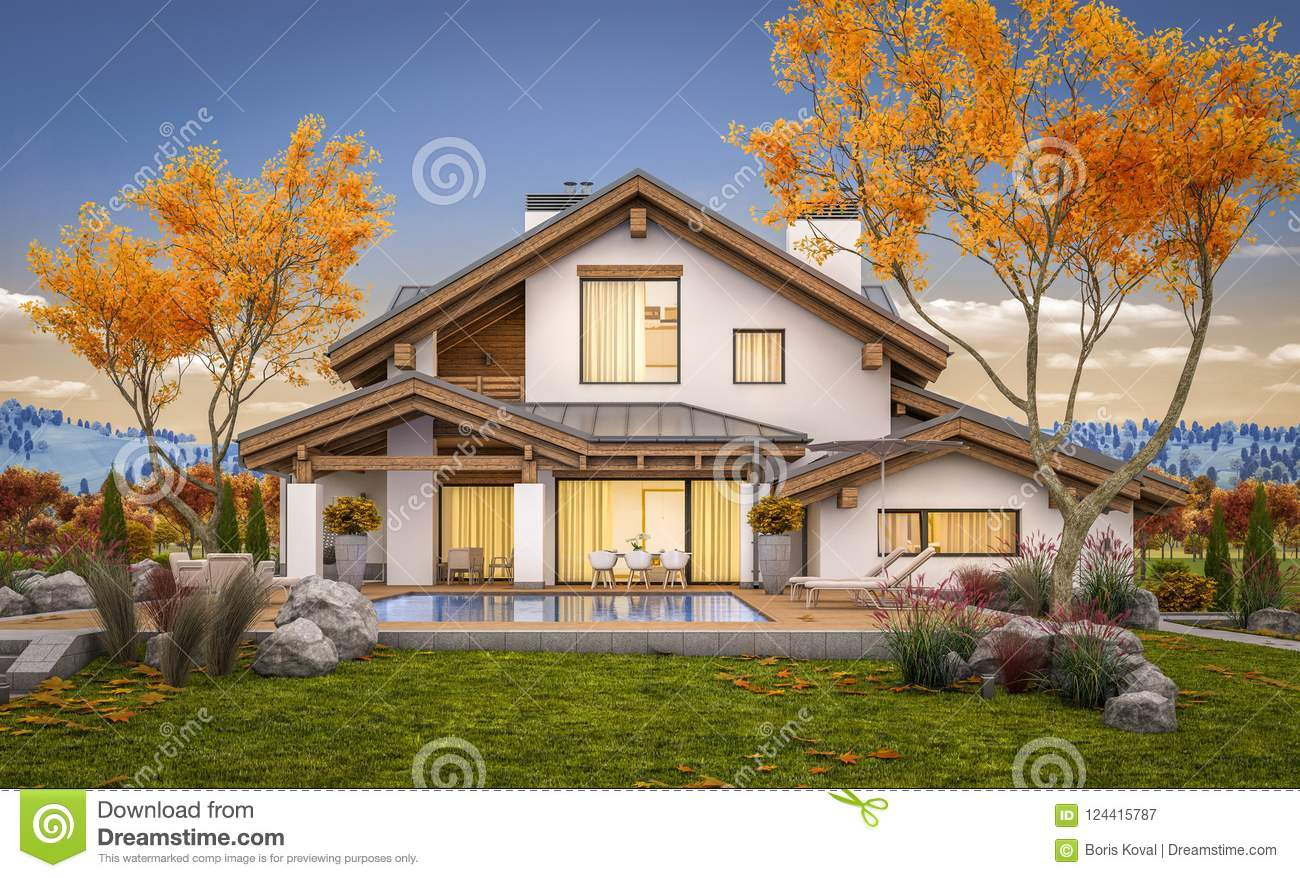 3d rendering of modern cozy house in chalet style with garage for sale or rent with large garden and lawn cool autumn evening with soft light from window