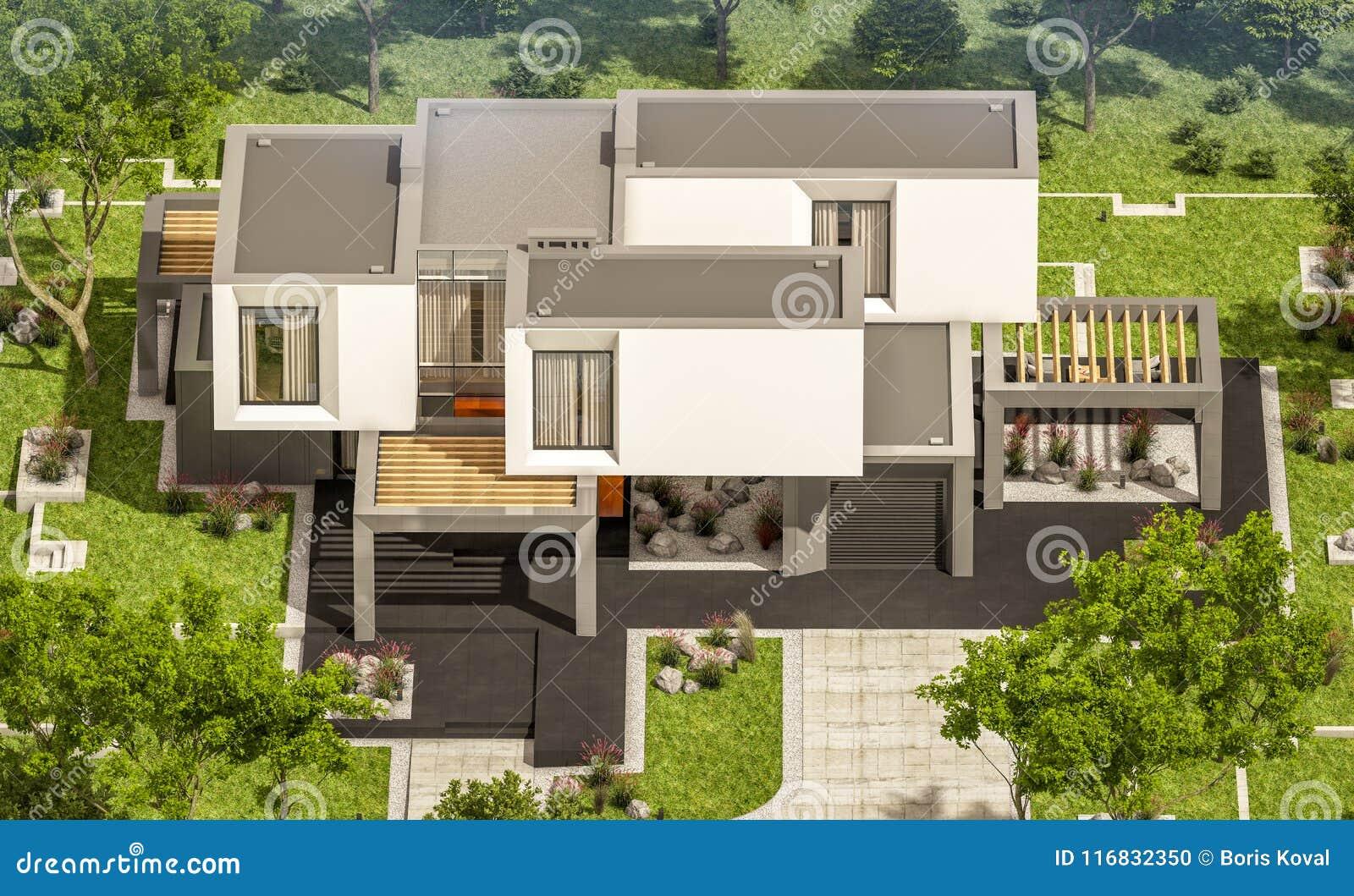 3d Rendering Of Modern House In The Garden Stock Illustration