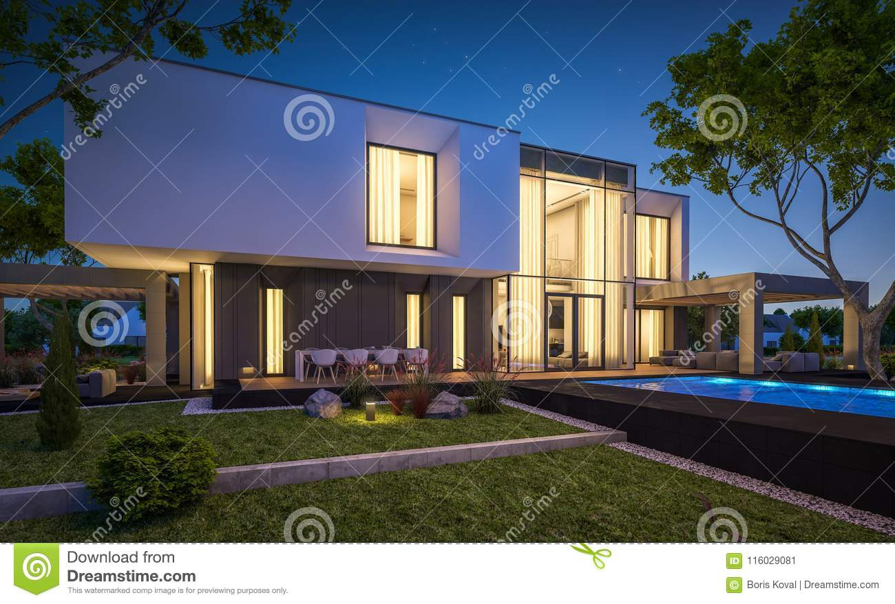3d rendering of modern cozy house in the garden with garage for sale or rent with beautiful pool in the yard clear summer night with stars on the sky