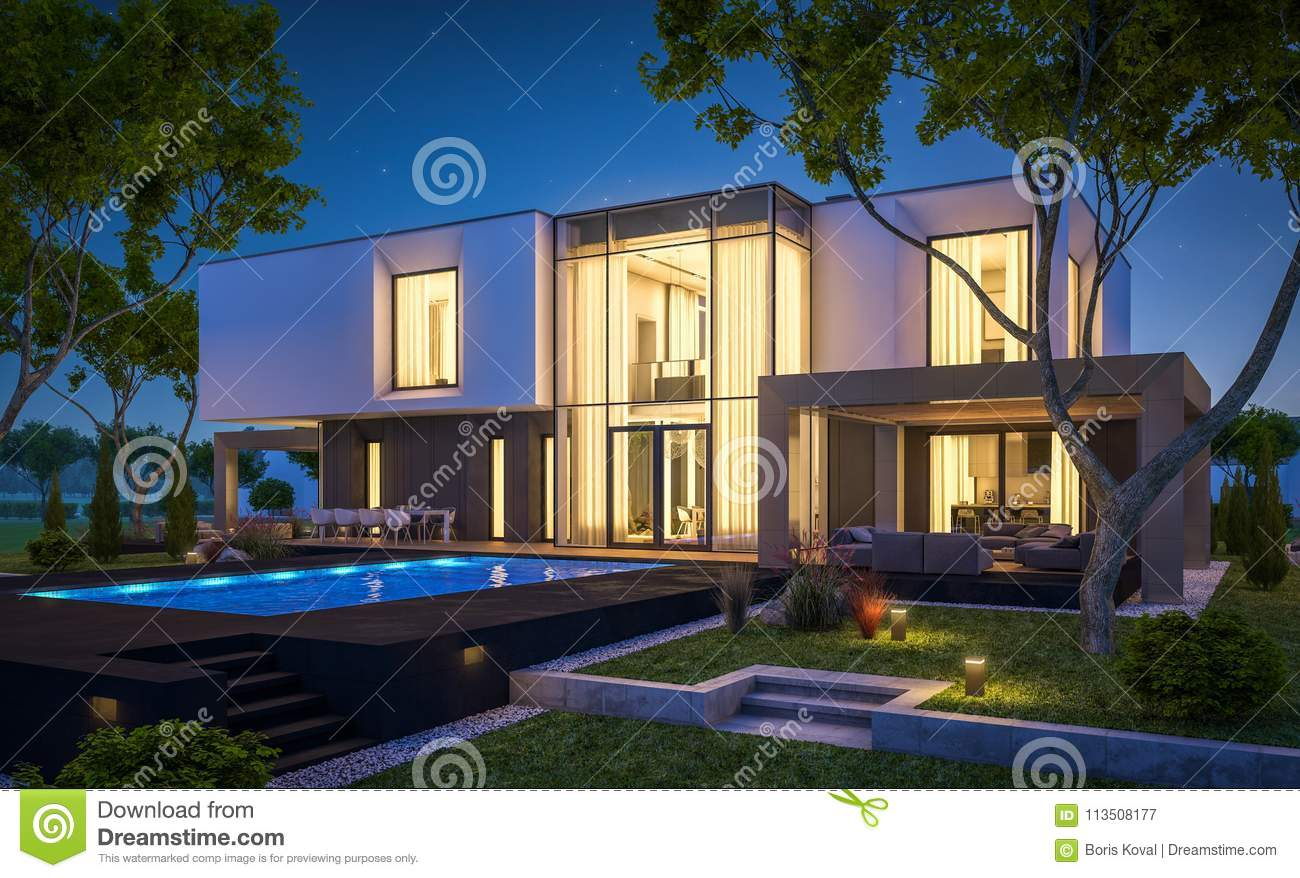 3d Rendering Of Modern Cozy House In The Garden With Garage For Sale Or Rent Beautiful Pool Yard Clear Summer Night Stars On Sky