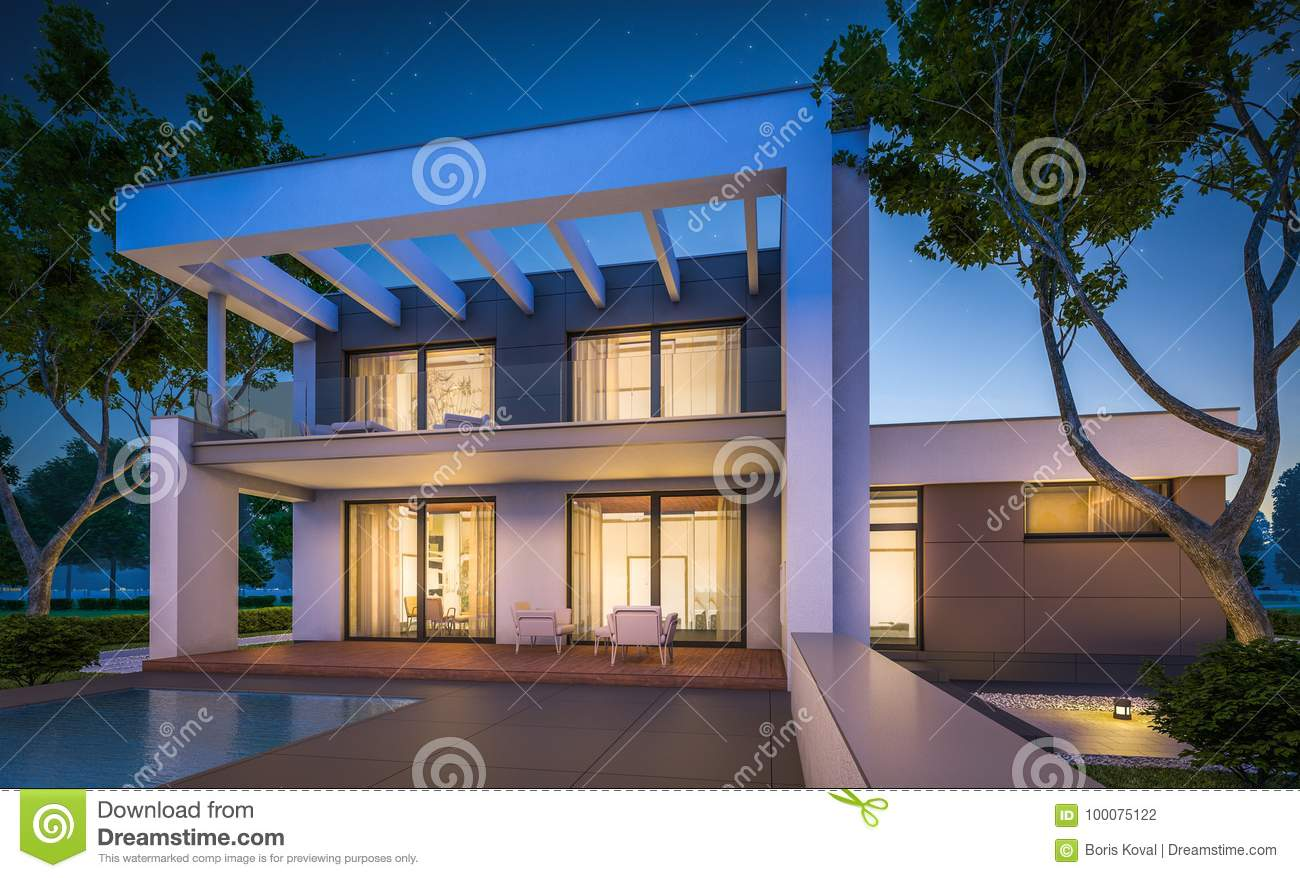 3d rendering of modern house at night stock illustration for Modern house at night