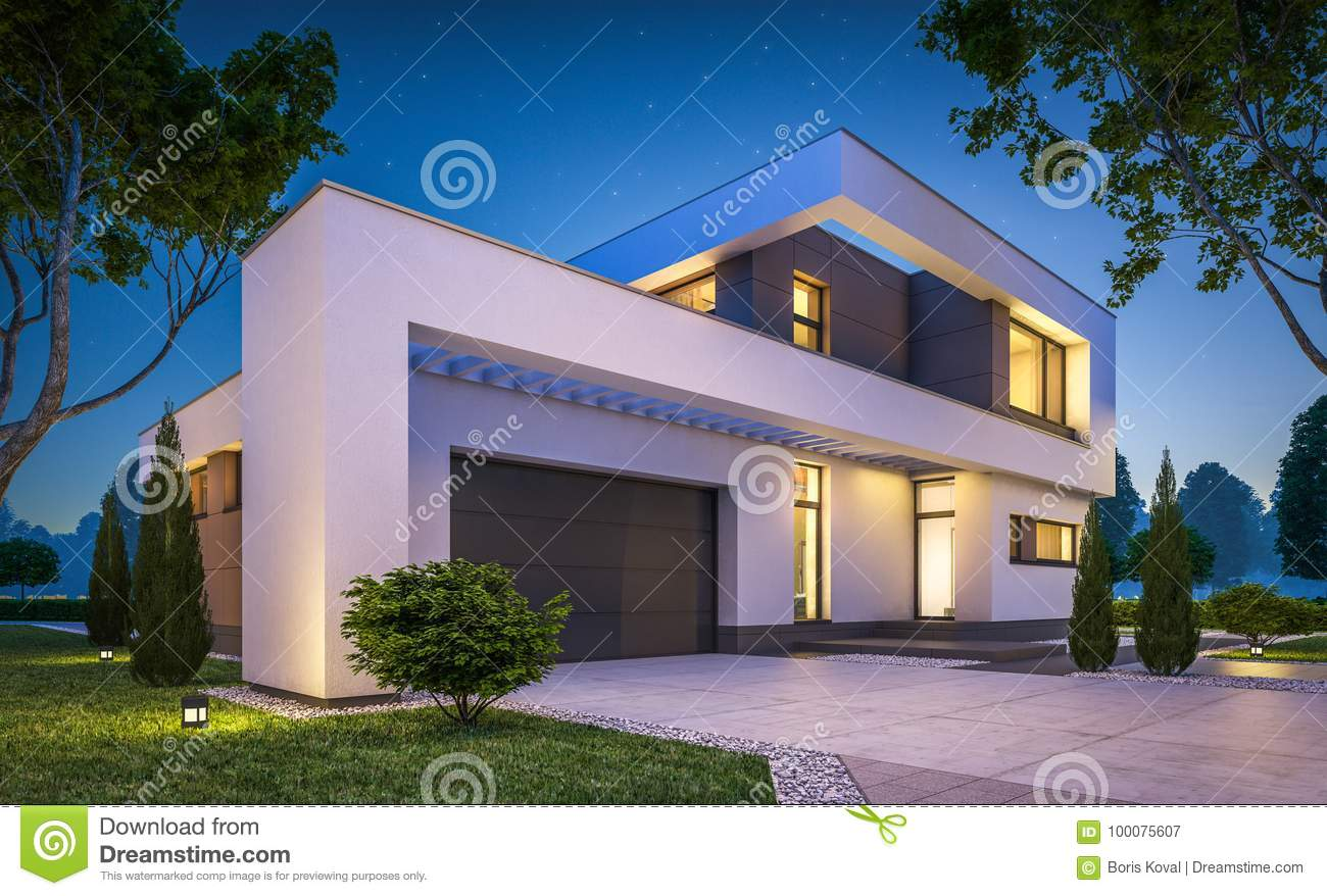 3d rendering of modern cozy house with garage for sale or rent with many grass on lawn clear summer night with stars on the sky