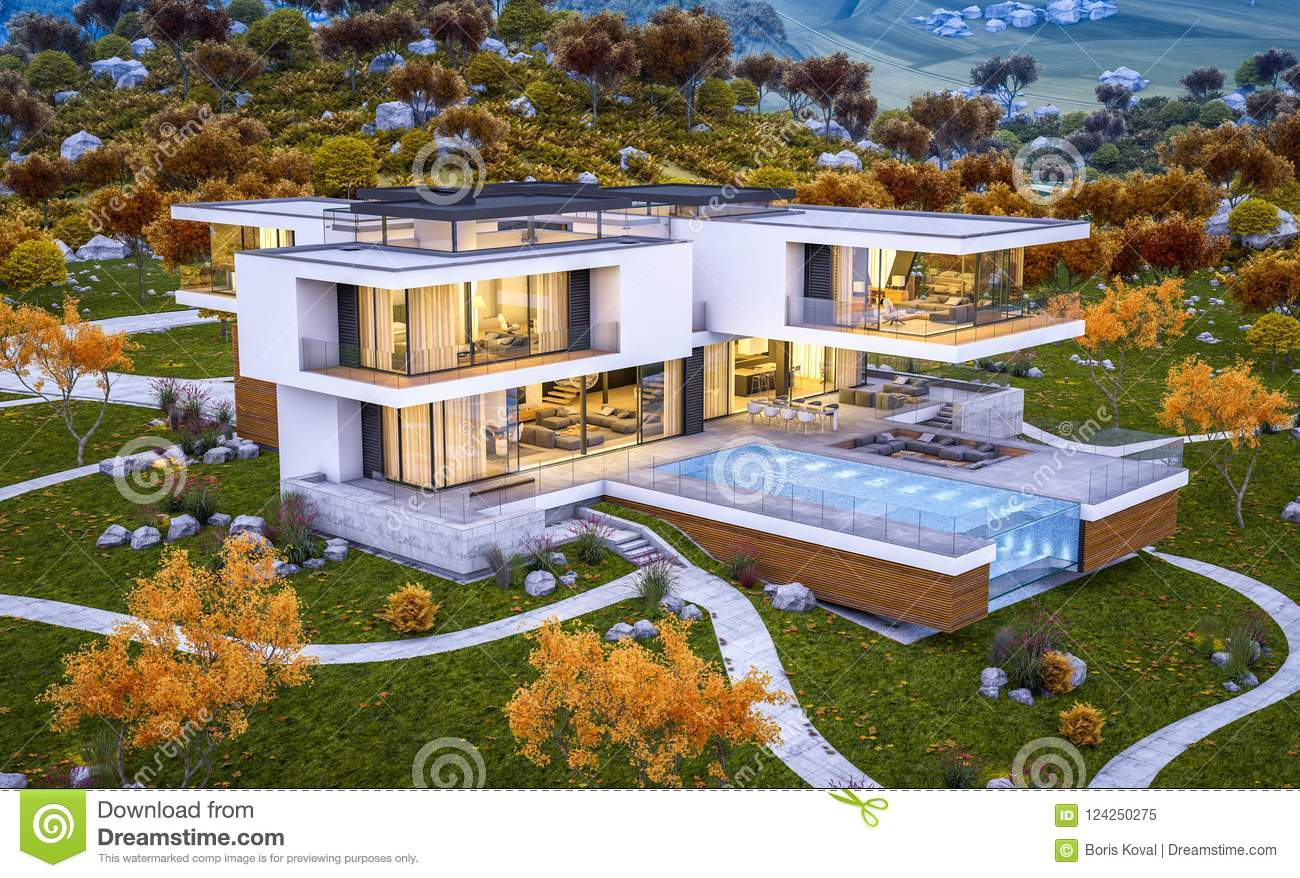 3d rendering of modern house by the river cool autumn evening wi