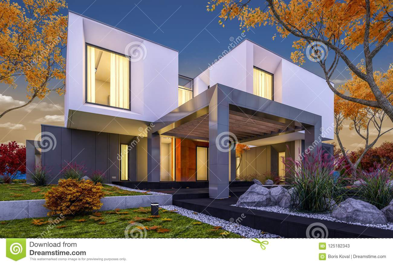 3d rendering of modern cozy house in the garden with garage for sale or rent with beautiful trees on background cool autumn evening with soft lights from