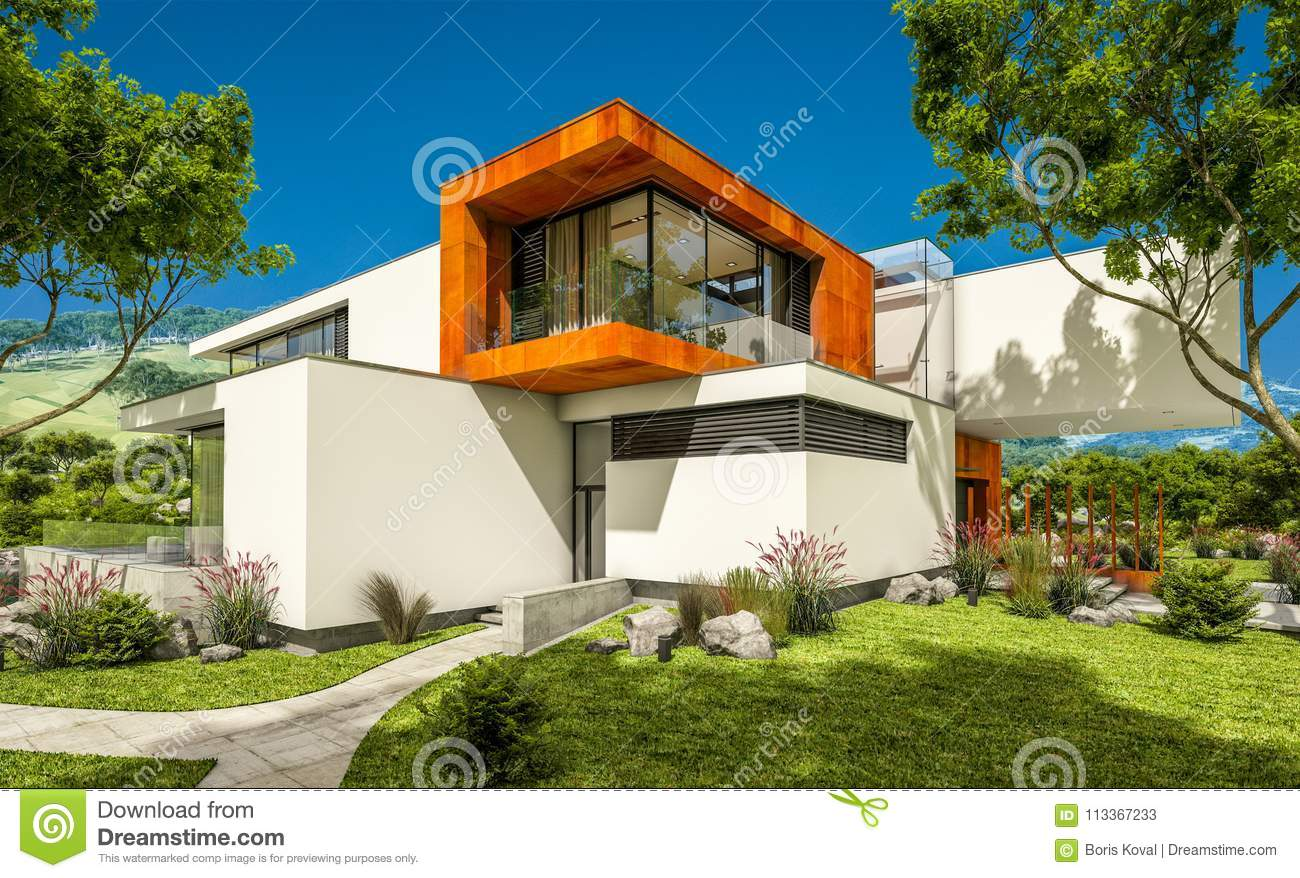 3d rendering of modern cozy house by the river with garage for sale or rent with beautiful mountains on background clear sunny summer day with blue sky