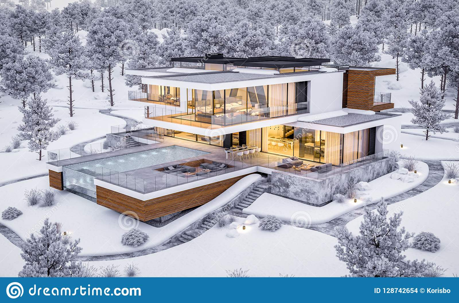 3d Rendering Of Modern House By The River In Winter Stock Photo