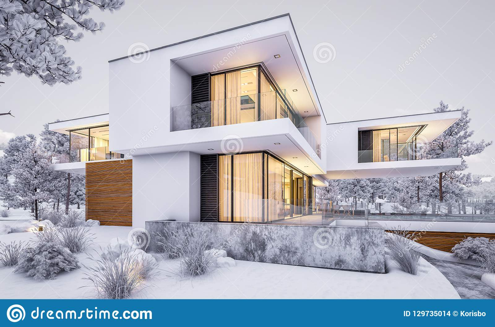 3d Rendering Of Modern House By The River In Winter Stock Photo Image Of Realty Dwelling 129735014