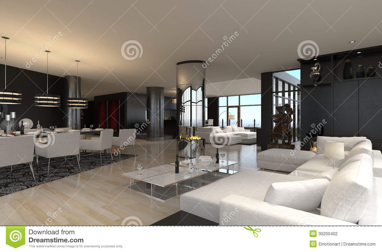 Modern living room interior design loft stock for 3d interior design of living room