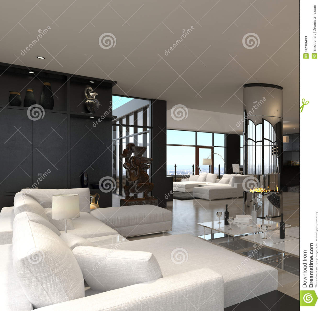 Modern Living Room Interior Design Loft Stock Illustration
