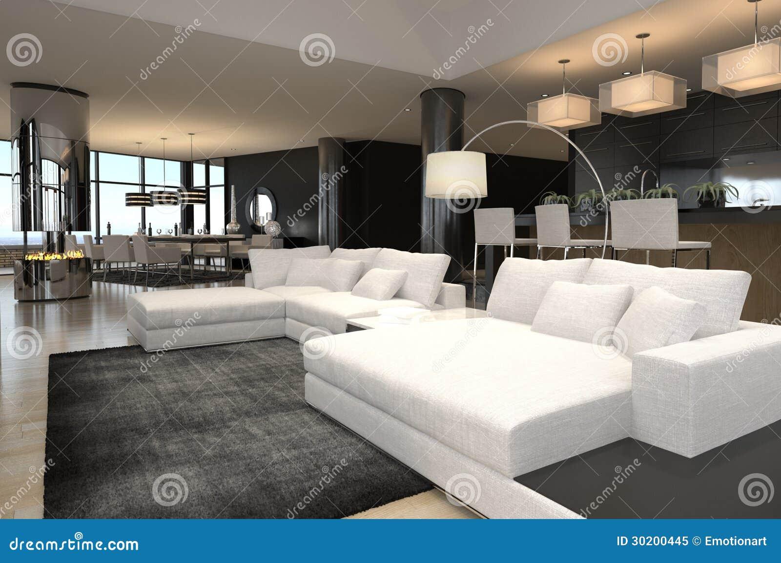 Modern living room interior design loft royalty free for Interior design living room loft