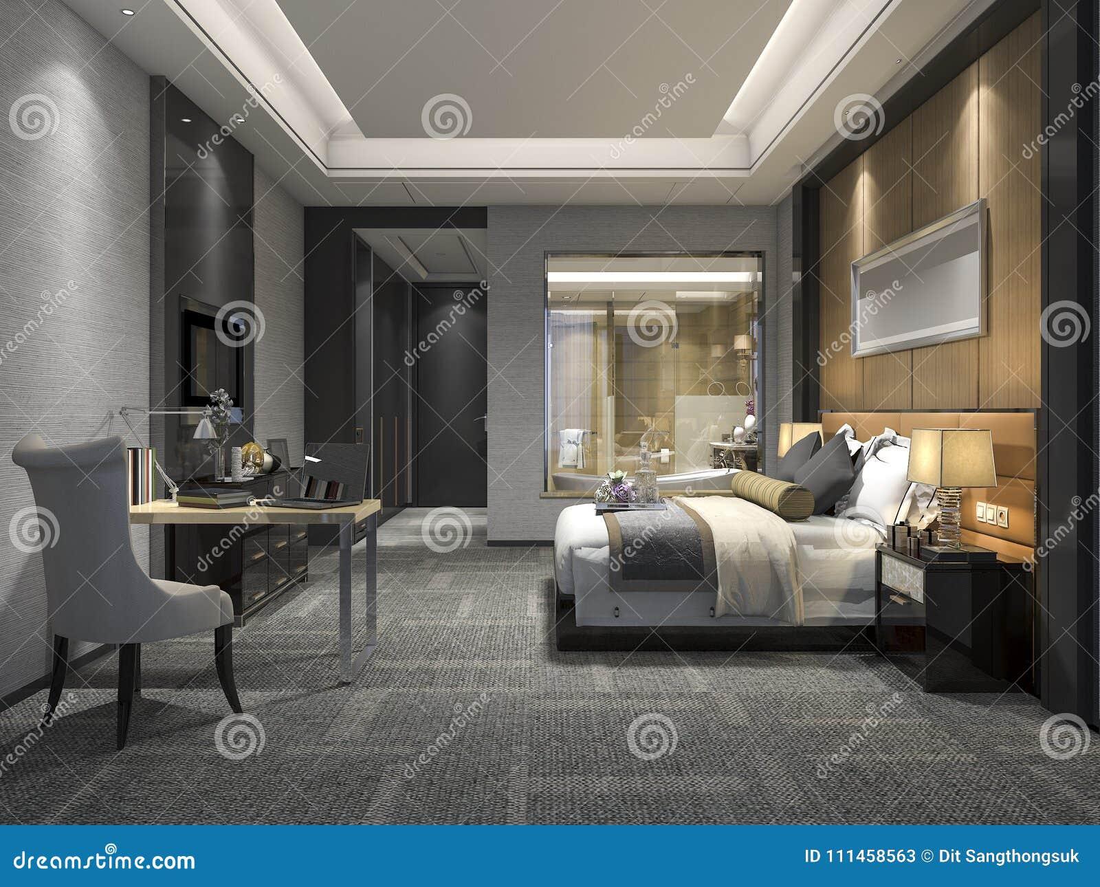 bedroom modern luxury. 3d Rendering Modern Luxury Bedroom Suite And Bathroom. Apartment, Living. A