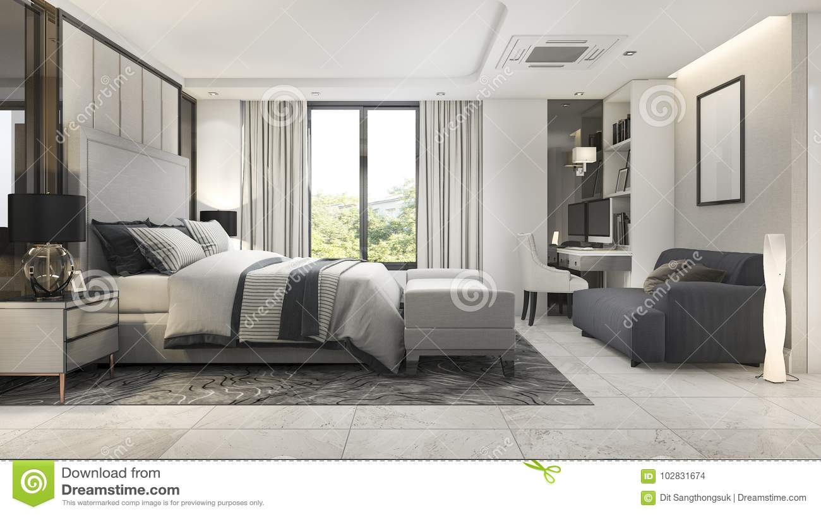 . 3d Rendering Modern Luxury Bedroom Suite In Hotel With Decor Stock