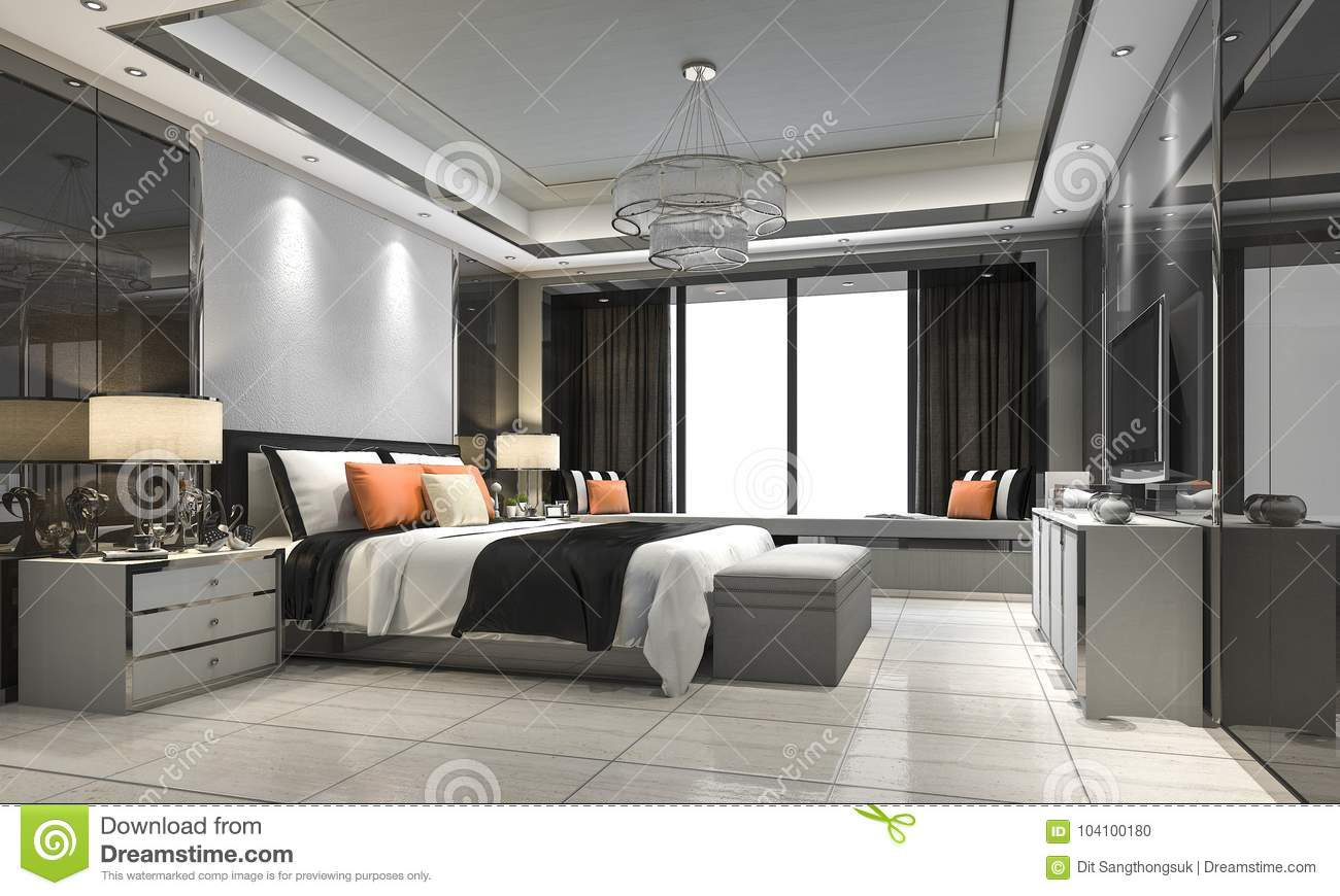 3d rendering modern luxury bedroom suite in hotel with decor stock