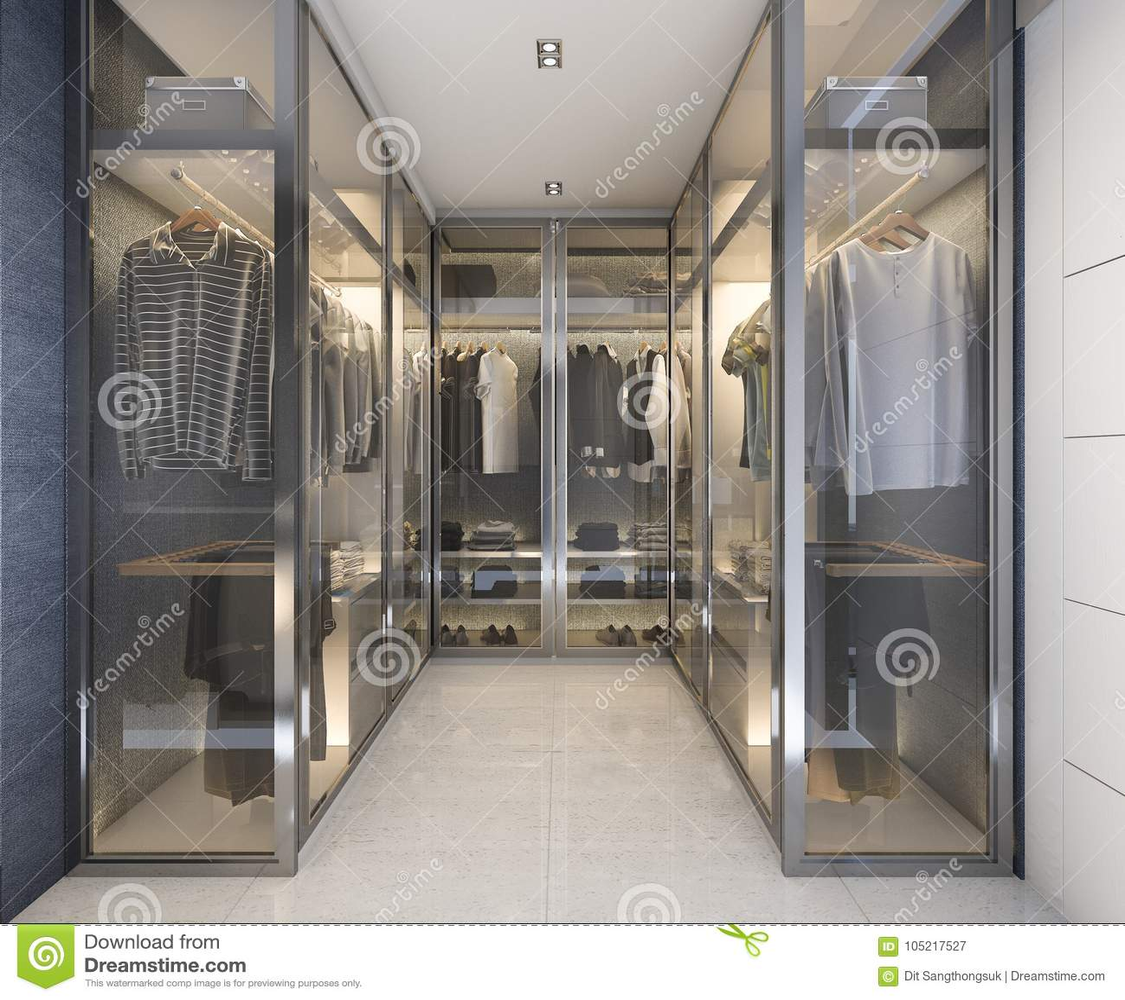 3d Rendering Modern Luxury Glass Walk In Closet With Blue ...