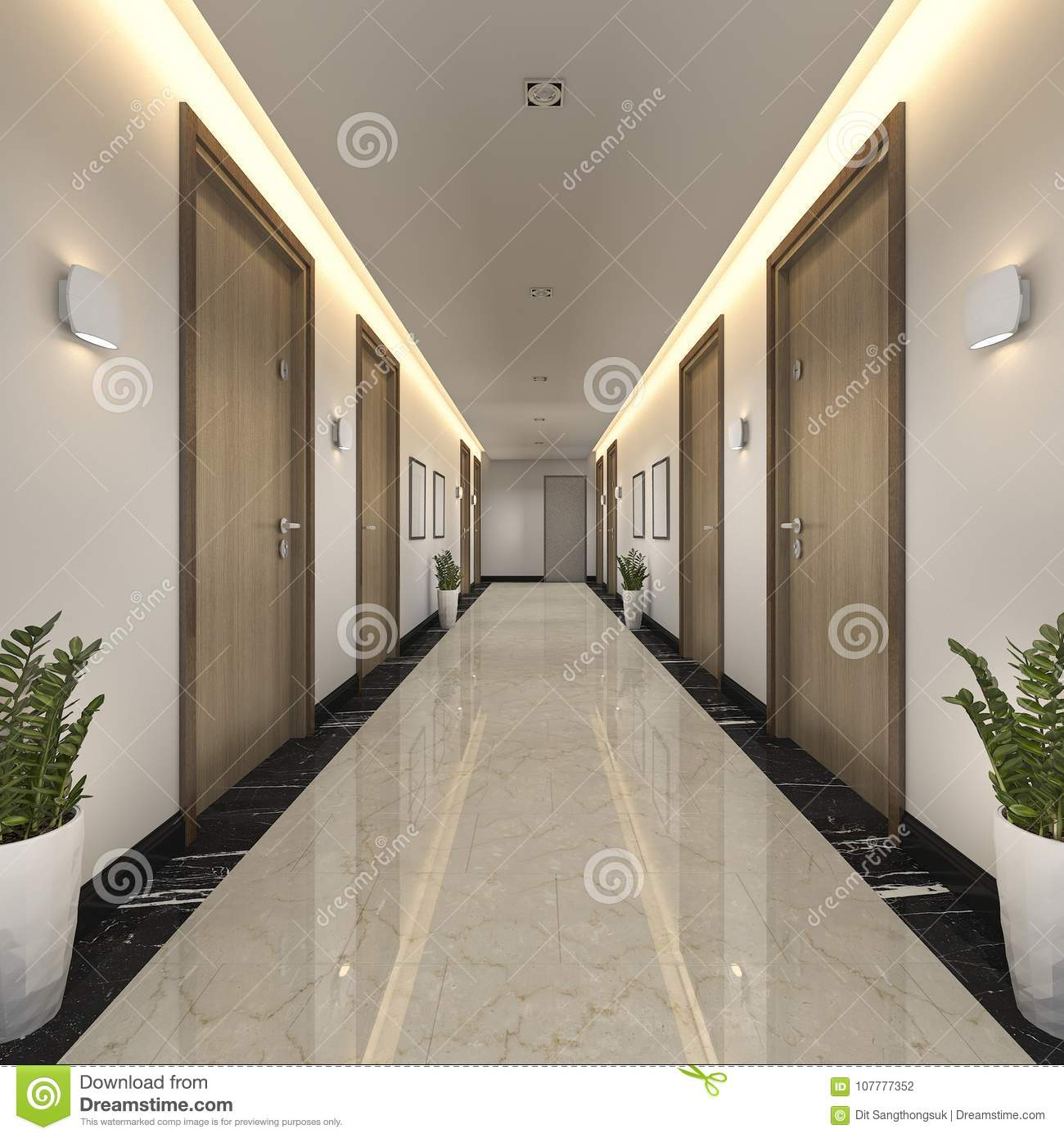 3d rendering modern luxury wood and tile hotel corridor for Design hotel 3d