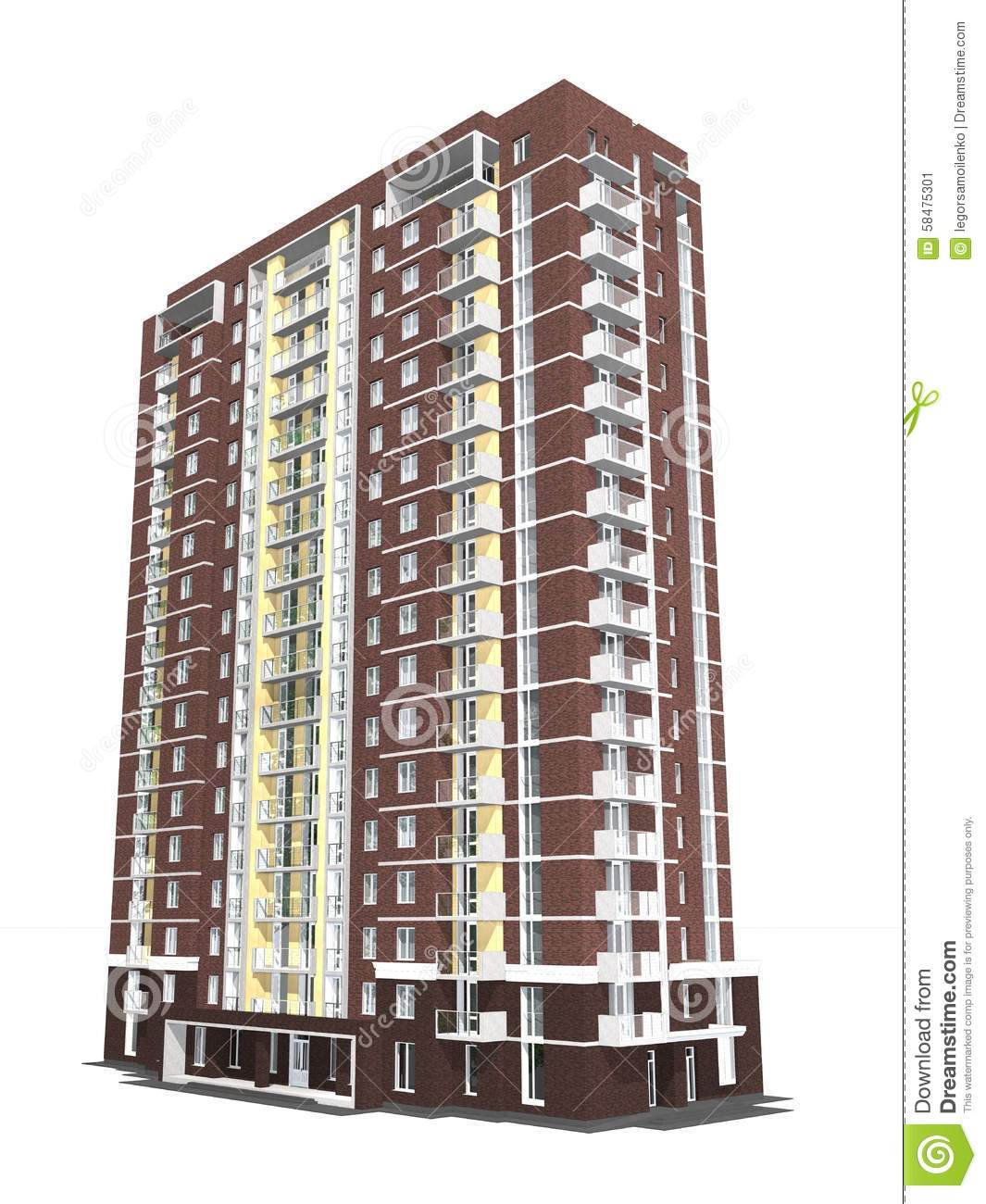 3d rendering of modern multi storey residential building for Multi storey apartment modern design
