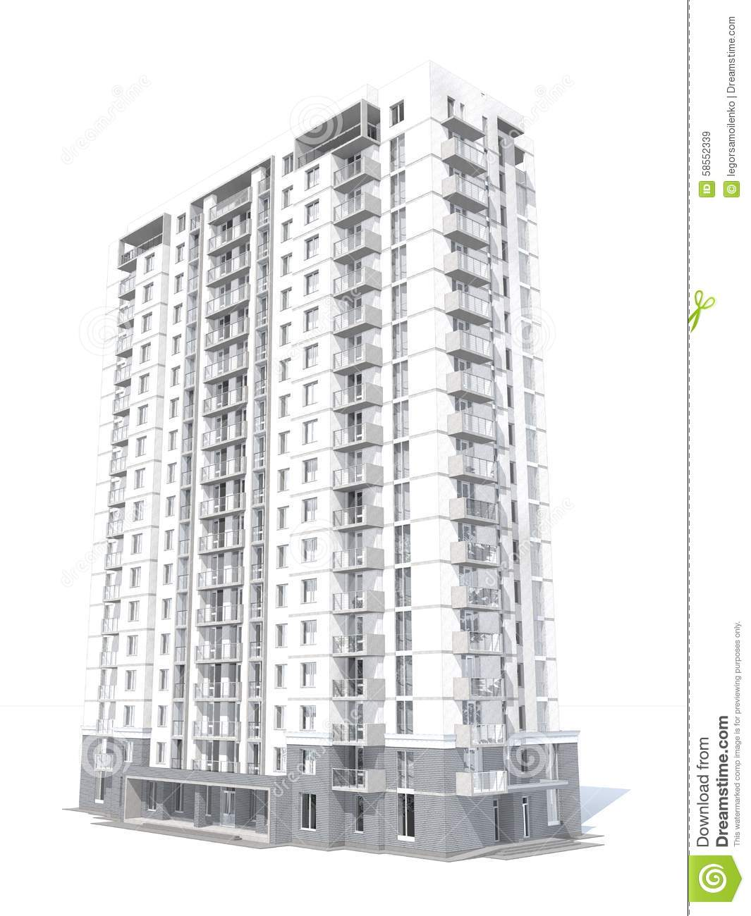 Contemporary Three Storied Residential Building: 3d Rendering Of Modern Multi-storey Residential Building