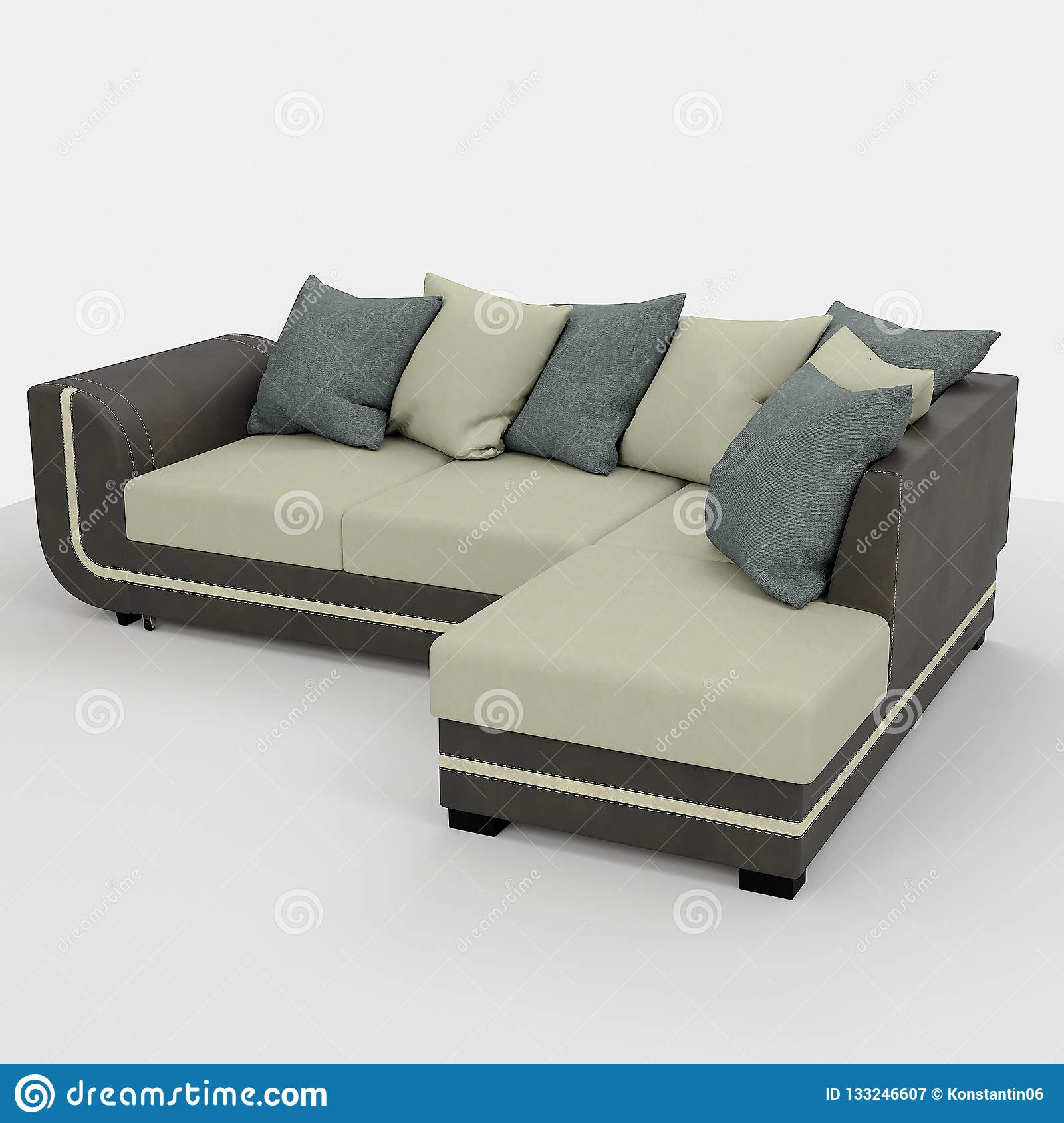 Modern sofa of simple shape a budget option in upholstered furniture use for minimalistic interiors and configuration of inexpensive hotels