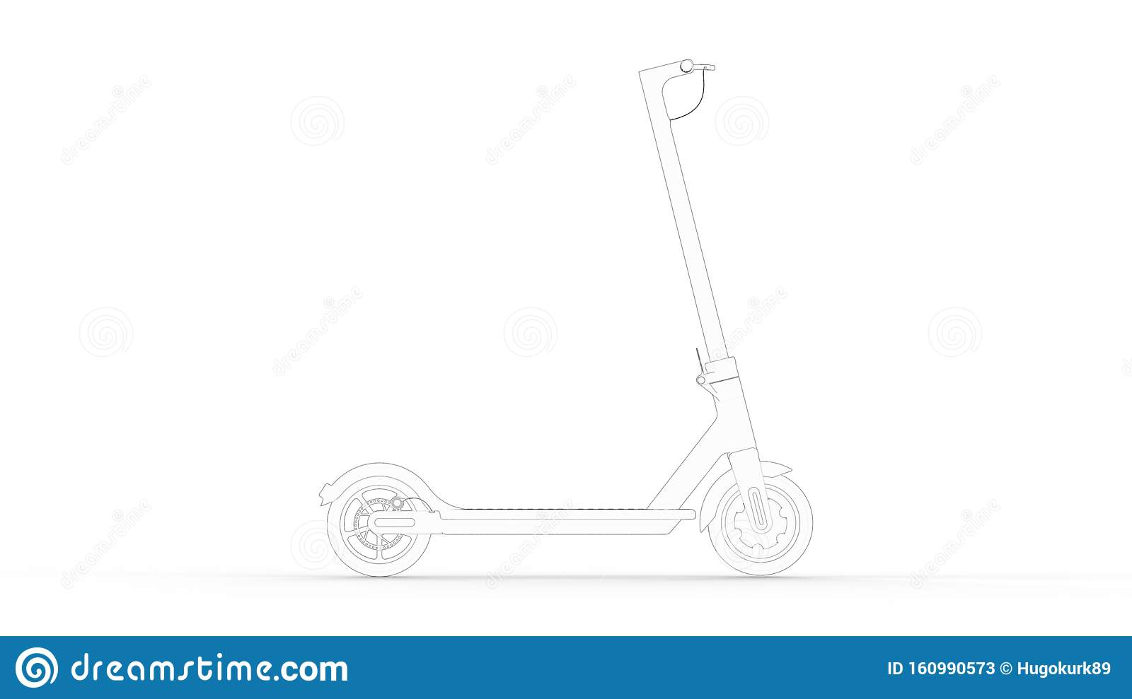 3d Rendering Multiple Technical Drawing Views Of An Electric Scooter Stock Illustration Illustration Of Future Ecological 160990573