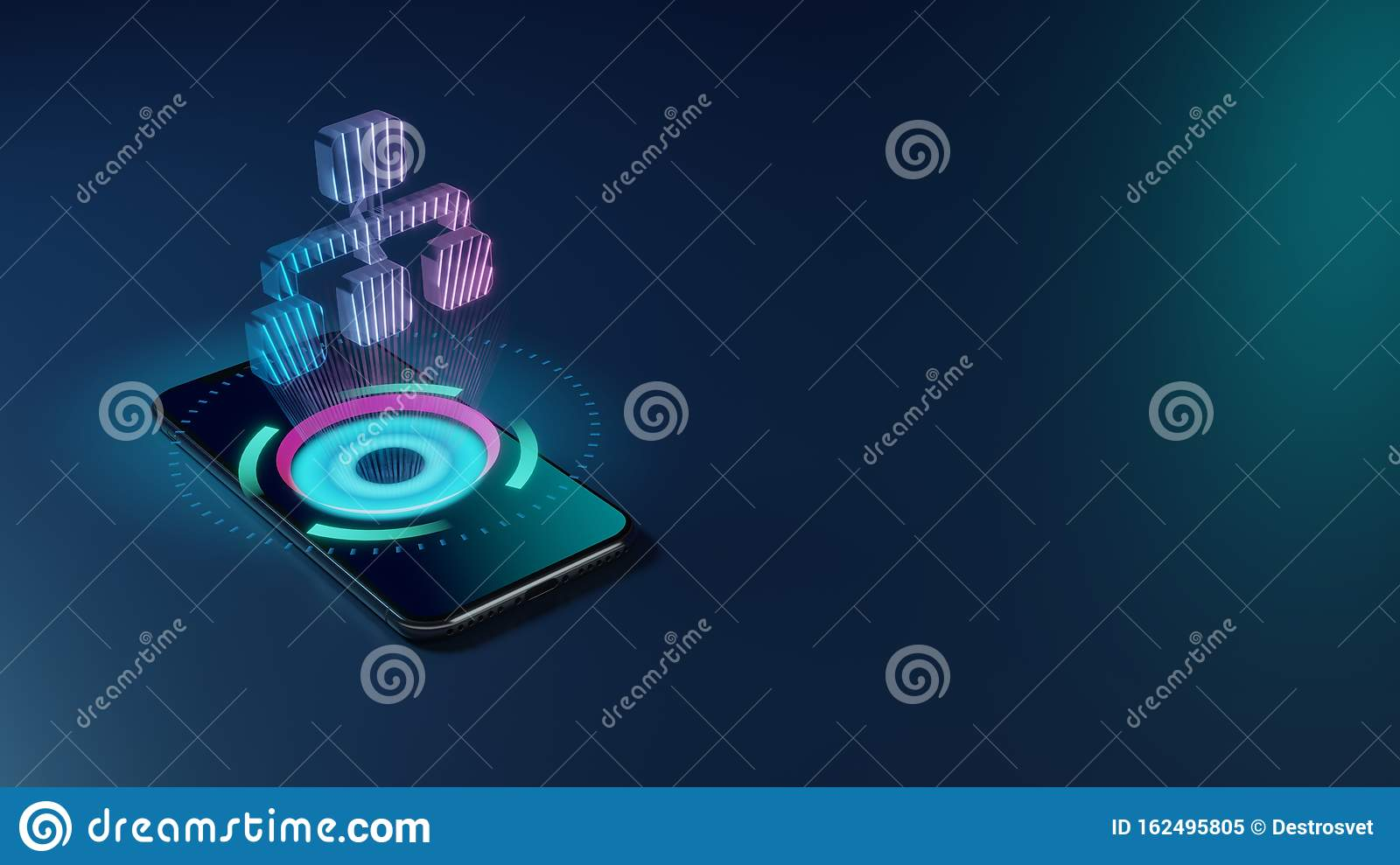 3D rendering neon holographic phone symbol of sitemap icon on dark background