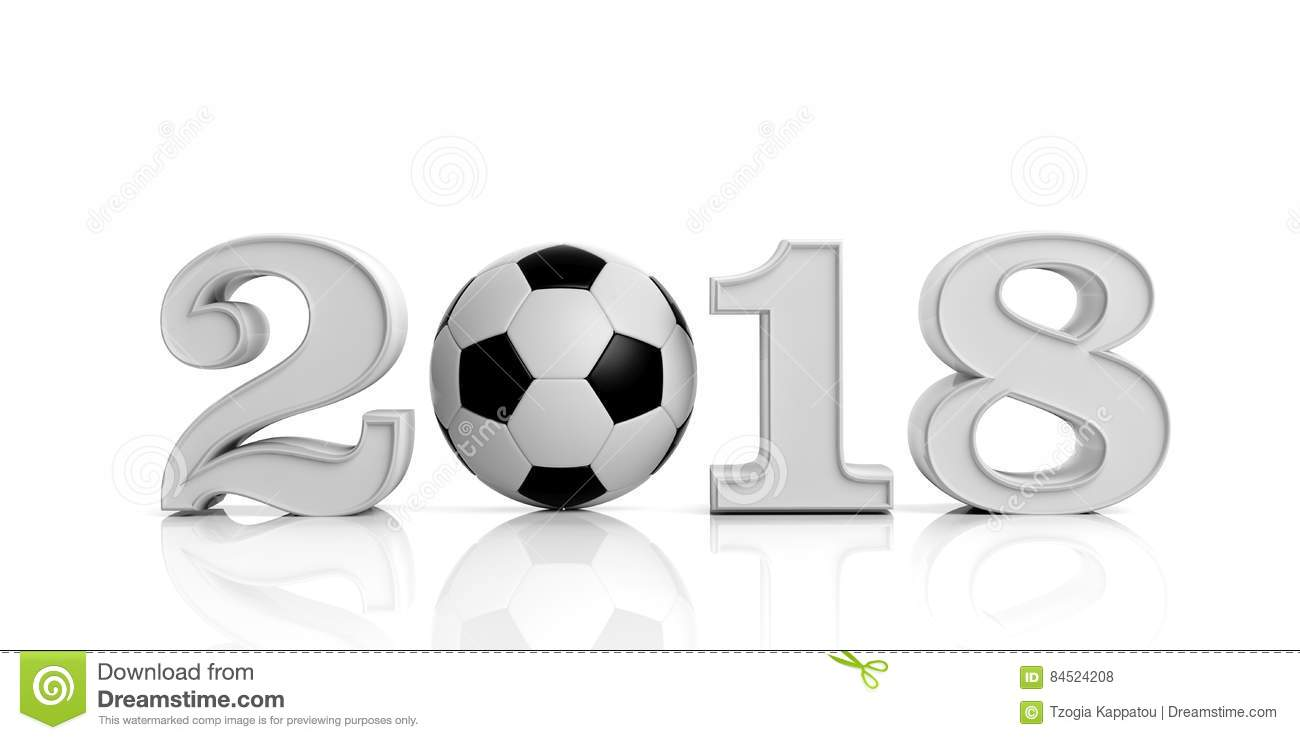 3d Rendering New Year 2018 With Soccer Ball Stock ...