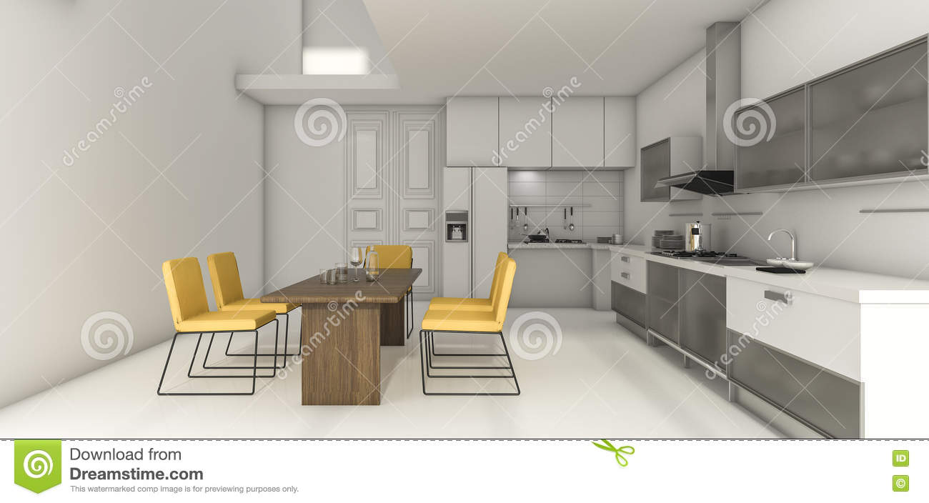 3d rendering white loft kitchen with nice decor dining for Kitchen design zones