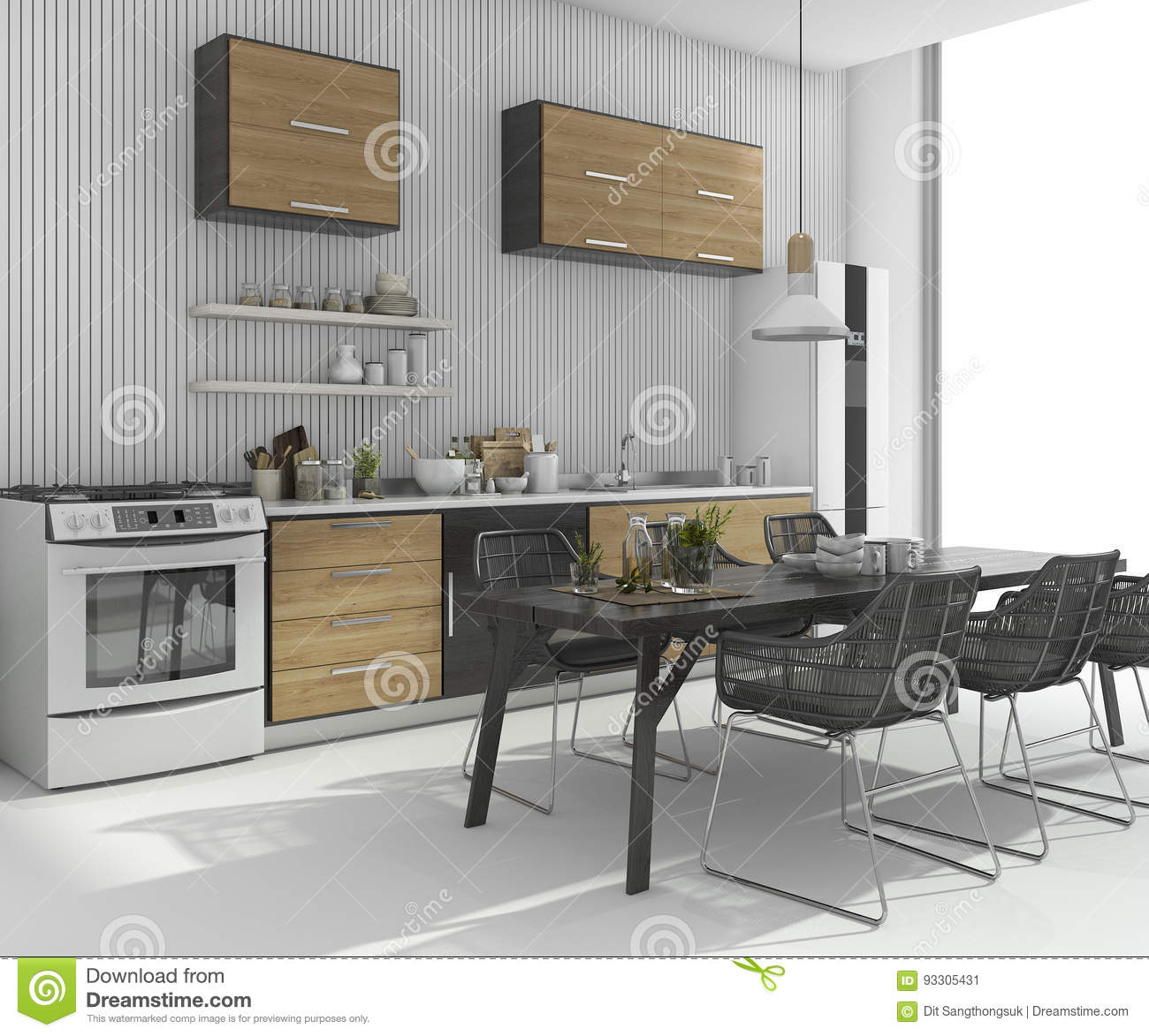 Traditional White Kitchen Design 3d Rendering: 3d Rendering Nice Dining Table Near Wood Kitchen Bar Stock