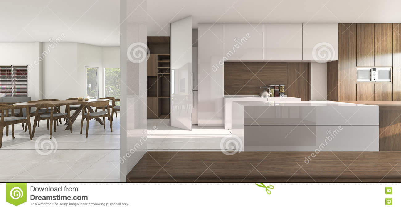3d Rendering Nice Kitchen And Dining Room In Warm Atmosphere ...
