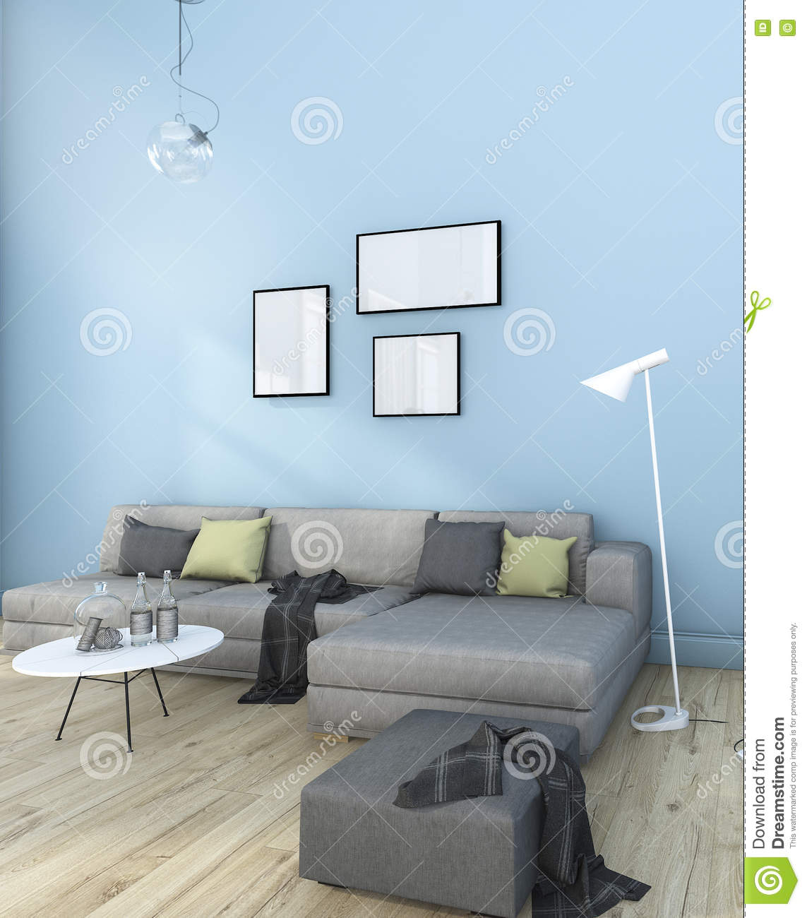 3d Rendering Nice Minimal Blue Living Room With Furniture