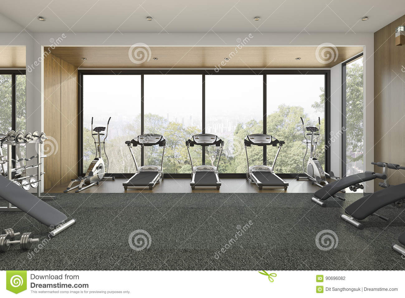 3d Rendering Nice Tree View Wood Gym And Training Room Stock Illustration