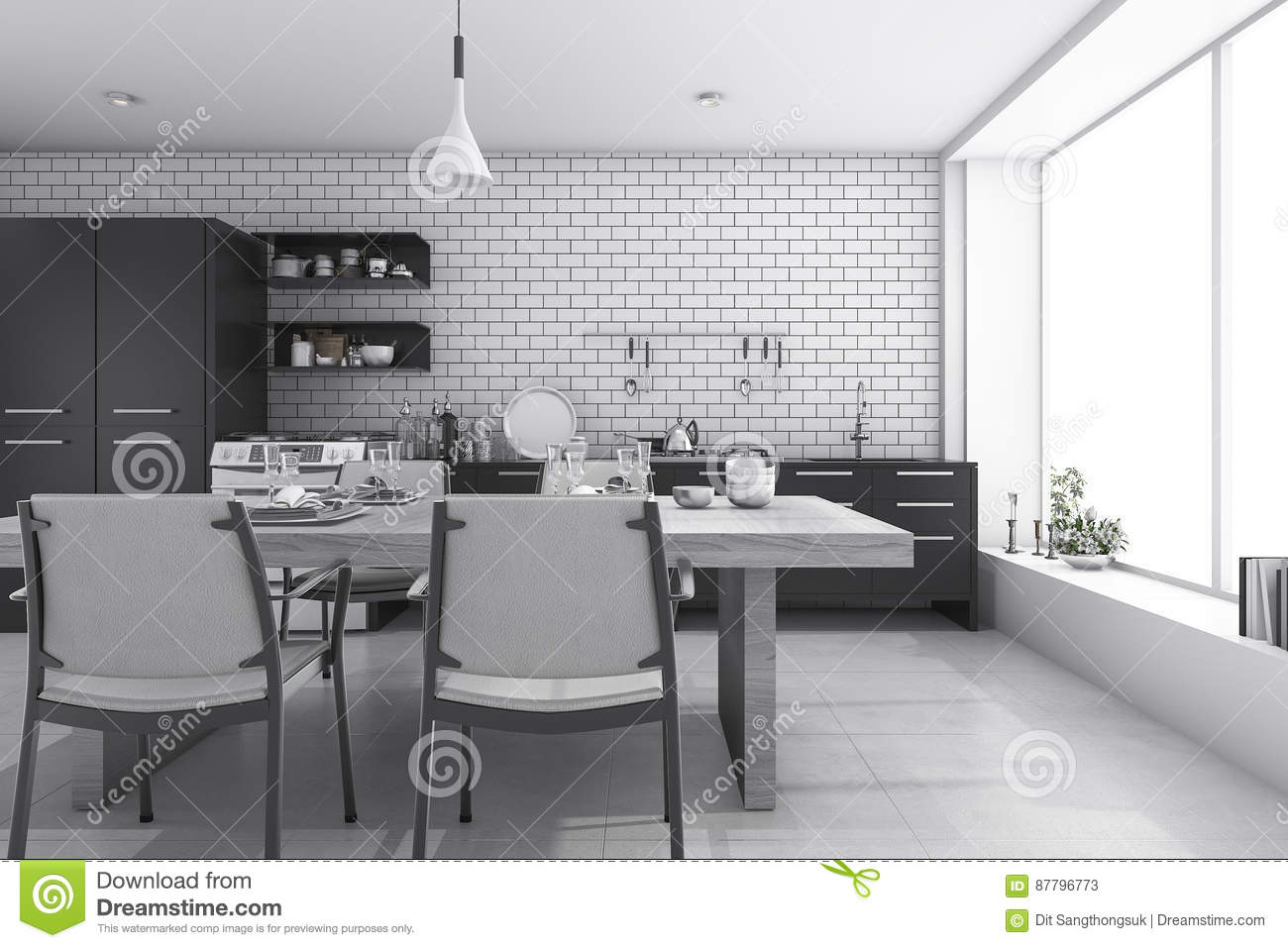 3d Rendering Nice White Brick Kitchen And Dining Room Stock ...