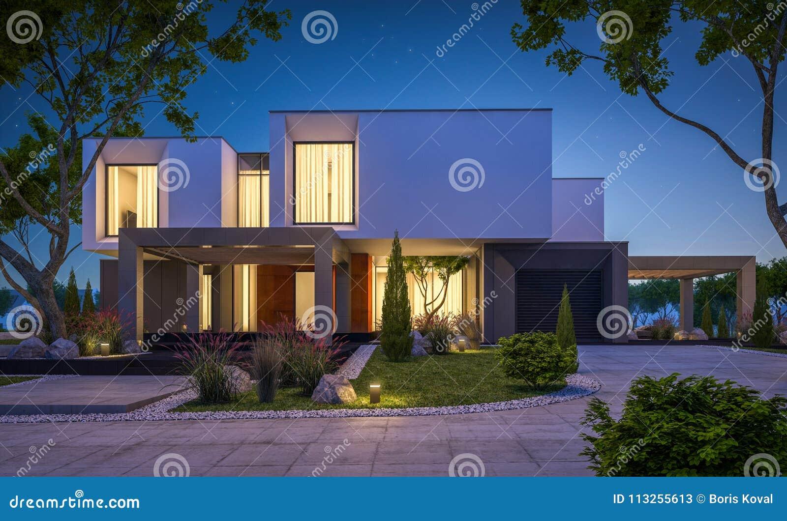 3d rendering nowożytny dom w ogródzie przy nocą