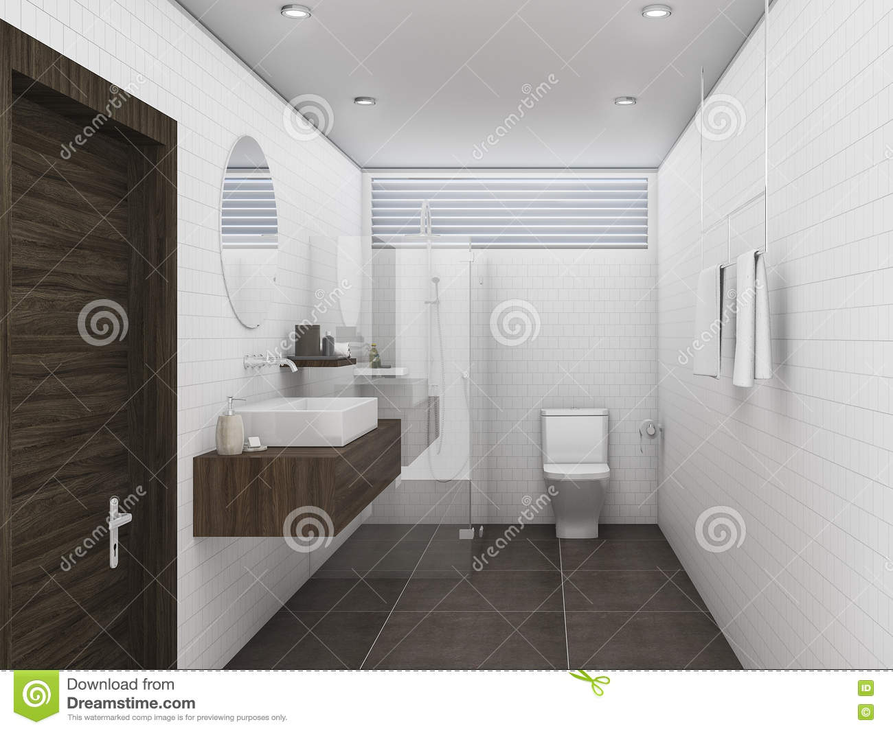3d rendering oak wood and white brick tile wall bathroom stock