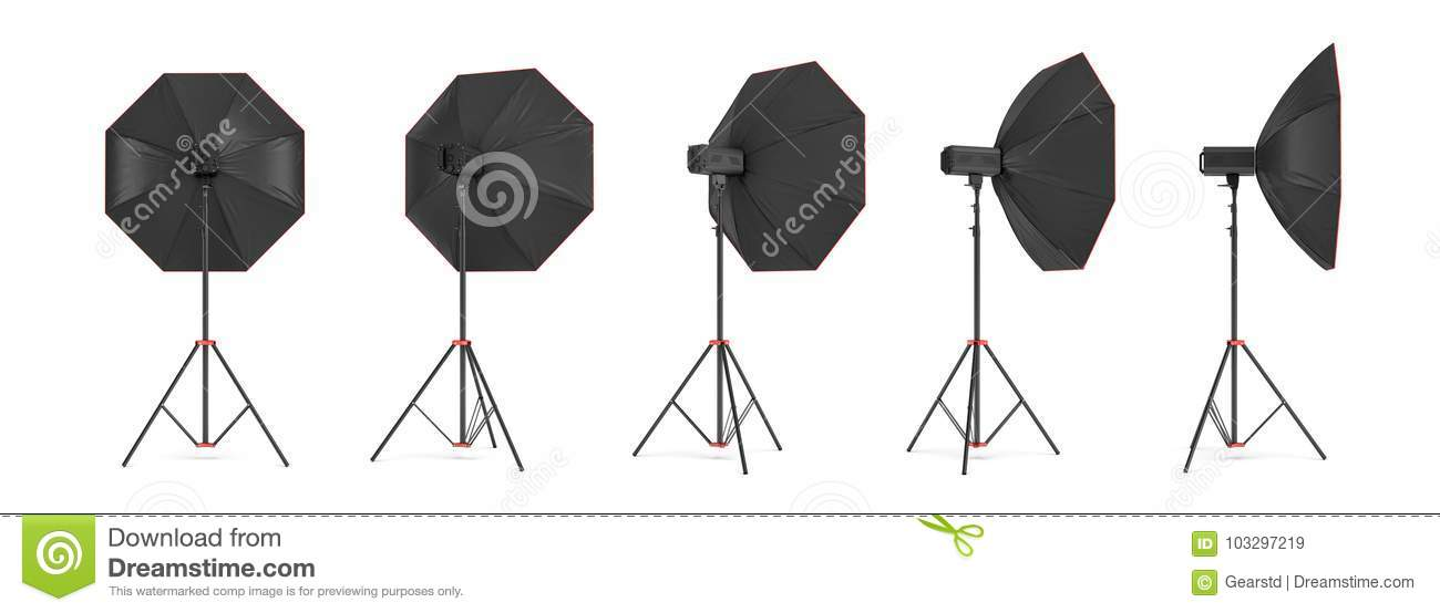 3d rendering of an octobox lighting set on a stand in for A different angle salon