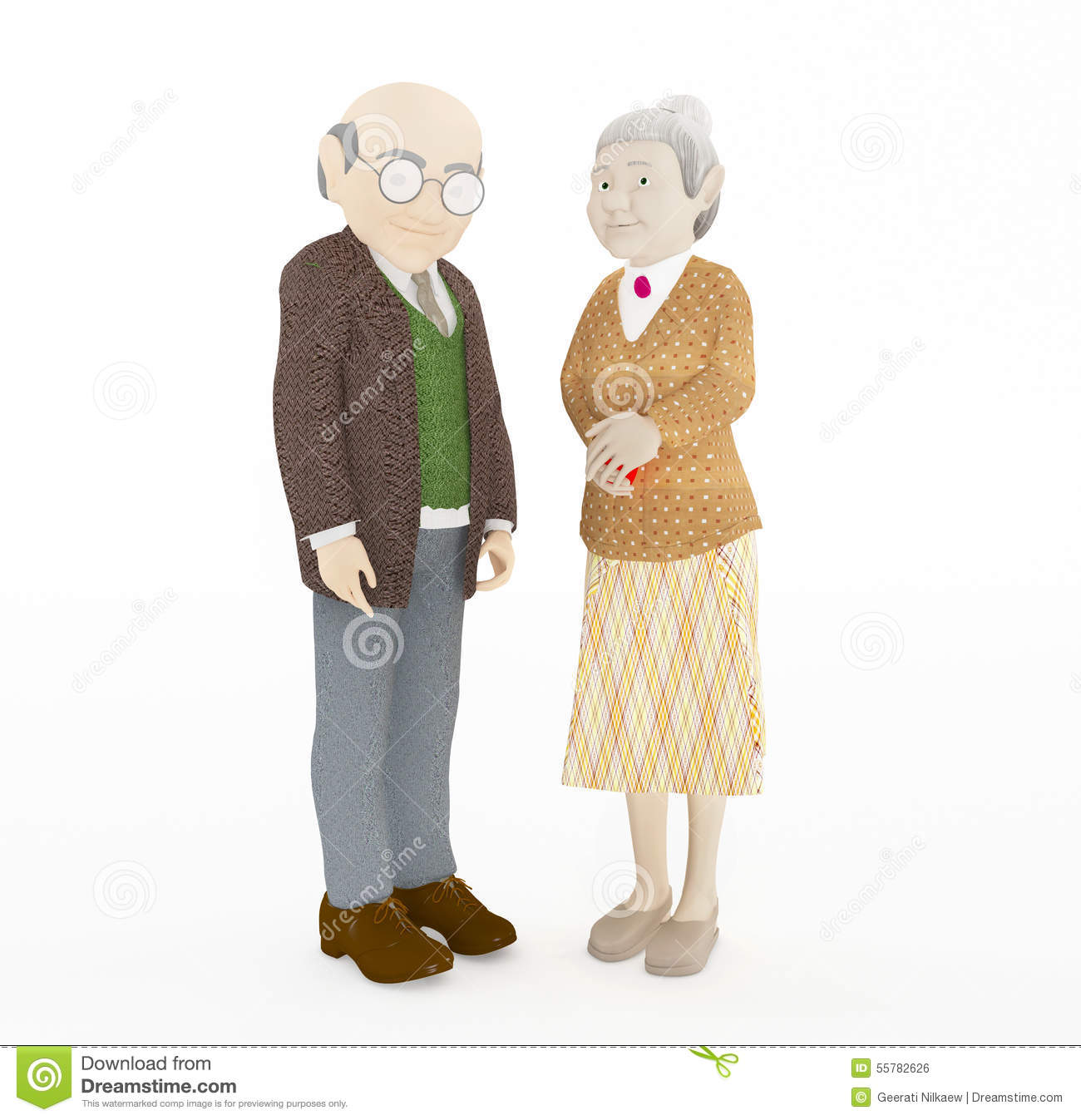 Stock illustrations senior citizen lady with a sign stock clipart - 3d Rendering Old Couple Stock Illustration Image 55782626