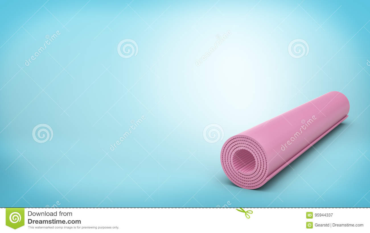 3d rendering of a pink rubber yoga mat closed and rolled up for storage  lying on 28264e9008f0