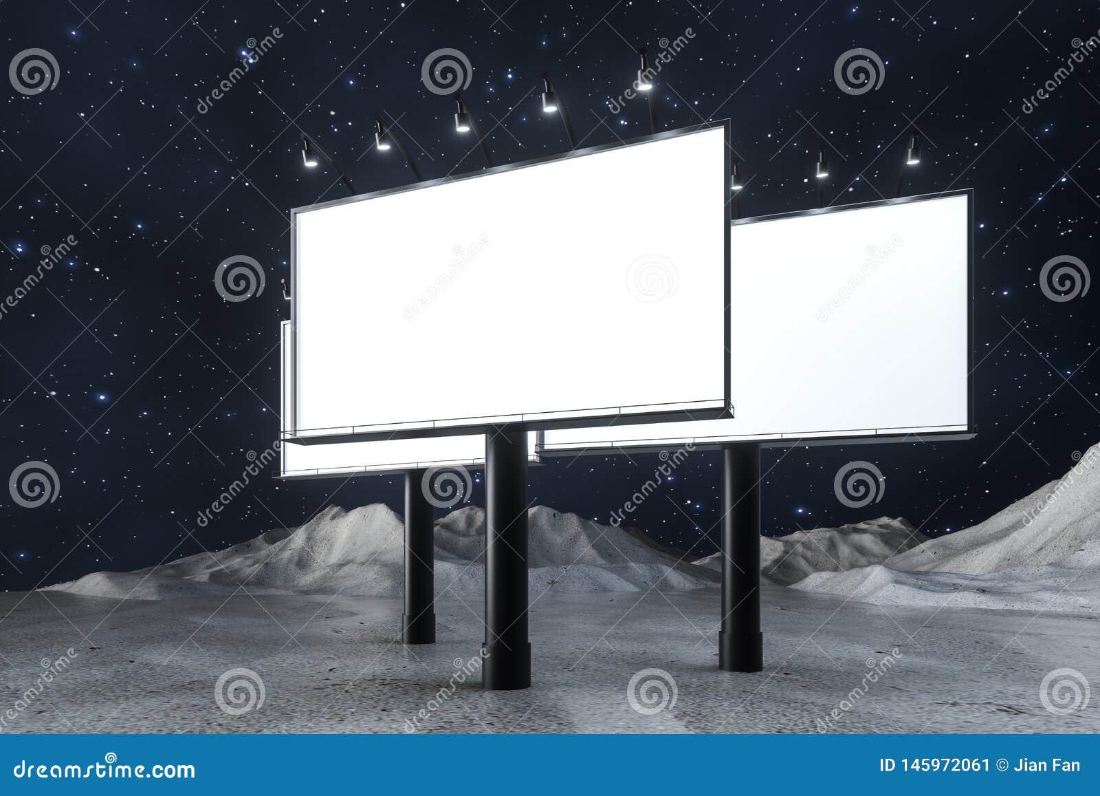 3d rendering, pusta reklamowa deska W nocy scenie