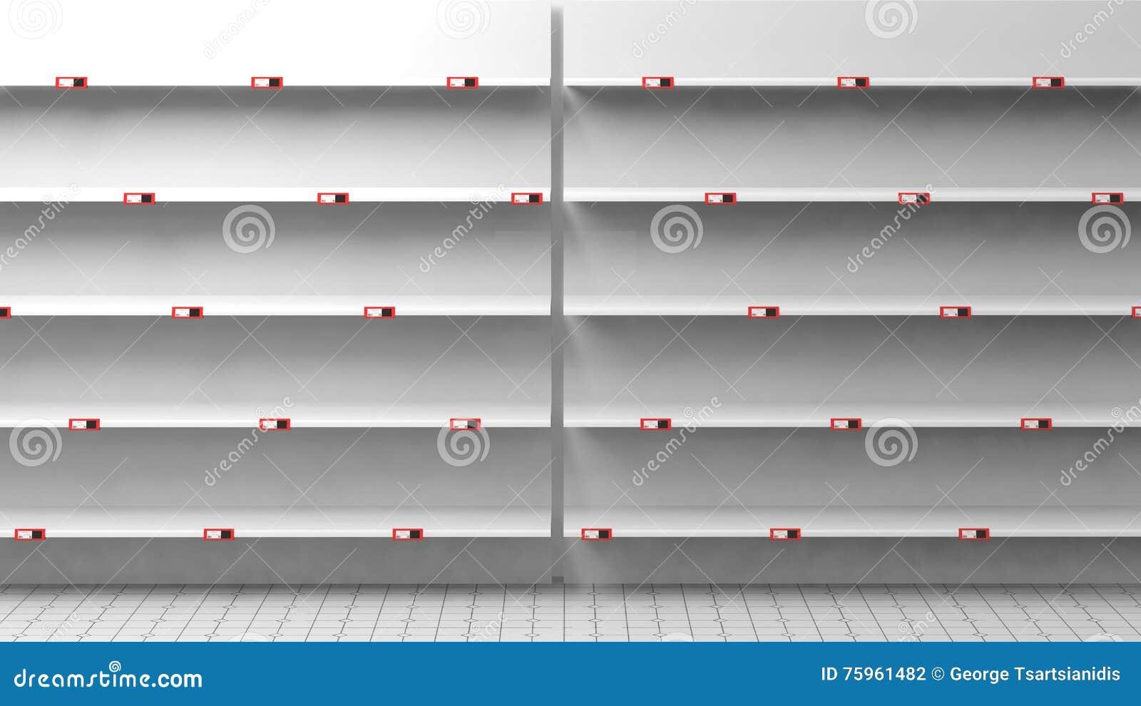 3d Rendering Puste Półki W Sklepie Ilustracji Ilustracja