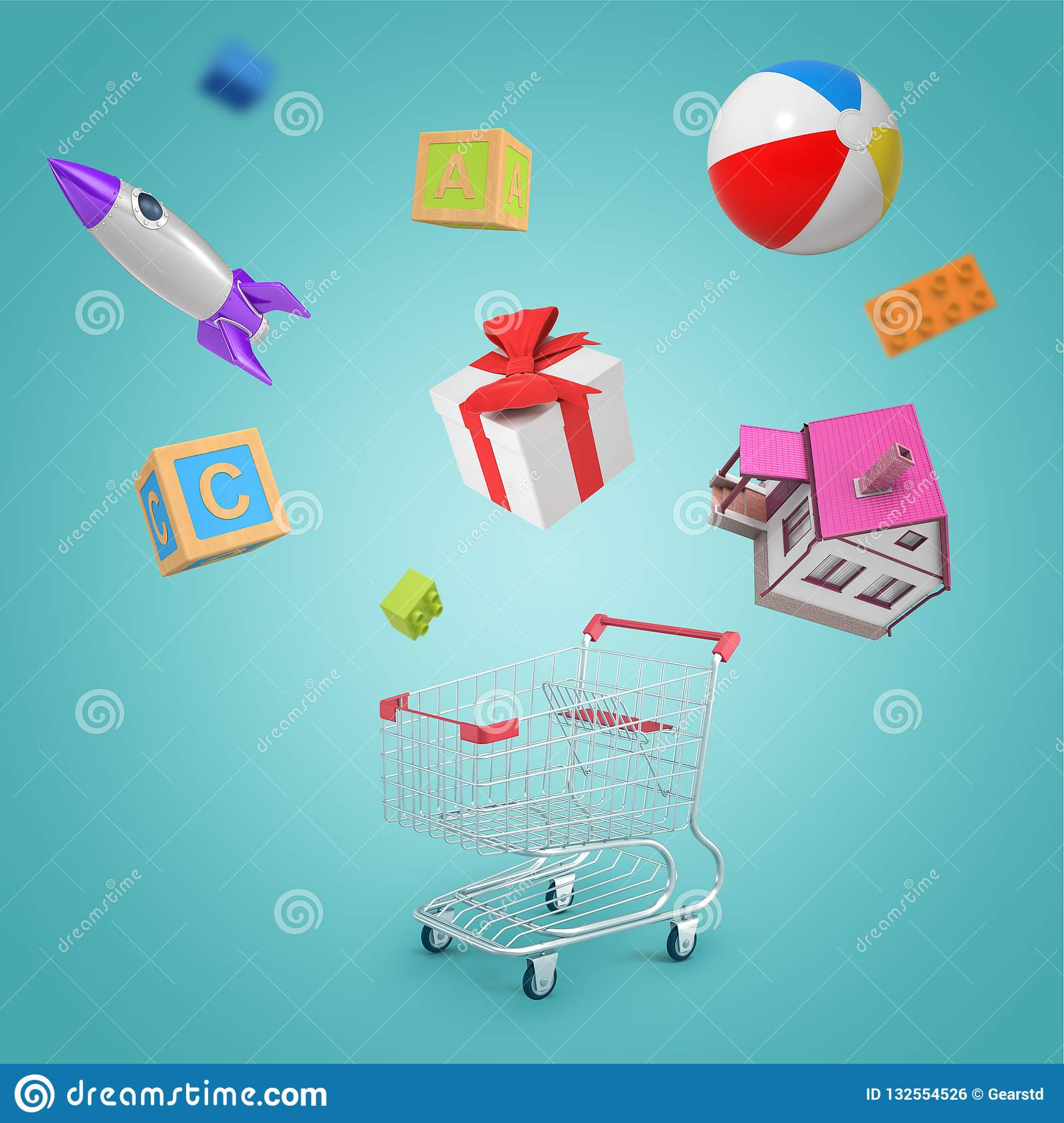 3d Rendering Of Random Objects Shopping Cart House Toy Ball Rocket Present Toy Bricks And Lego Parts On Blue Stock Illustration Illustration Of Game Instrument 132554526