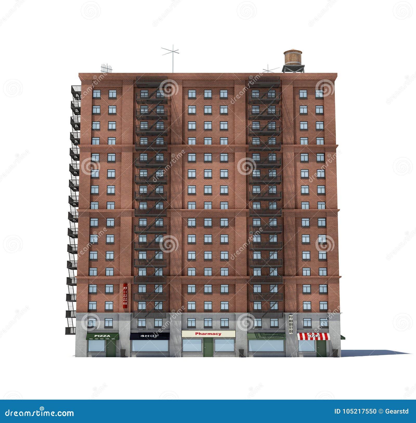 Apartment Tower Rendering: Apartment Building Rendering Stock Illustrations