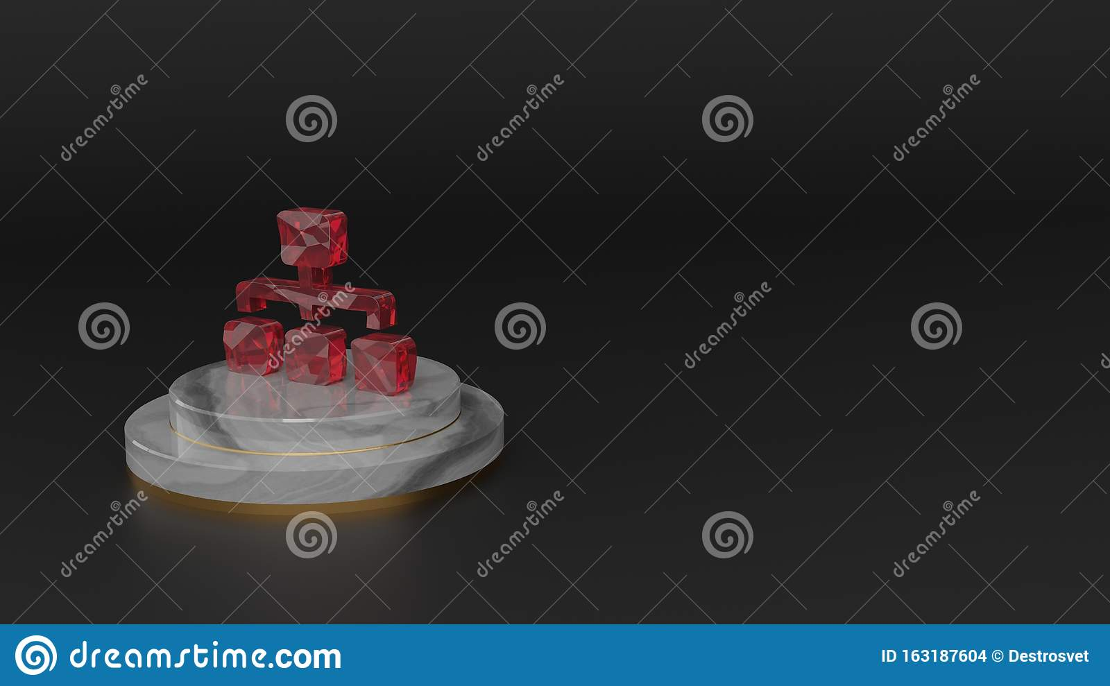 3D rendering of red gemstone symbol of sitemap icon