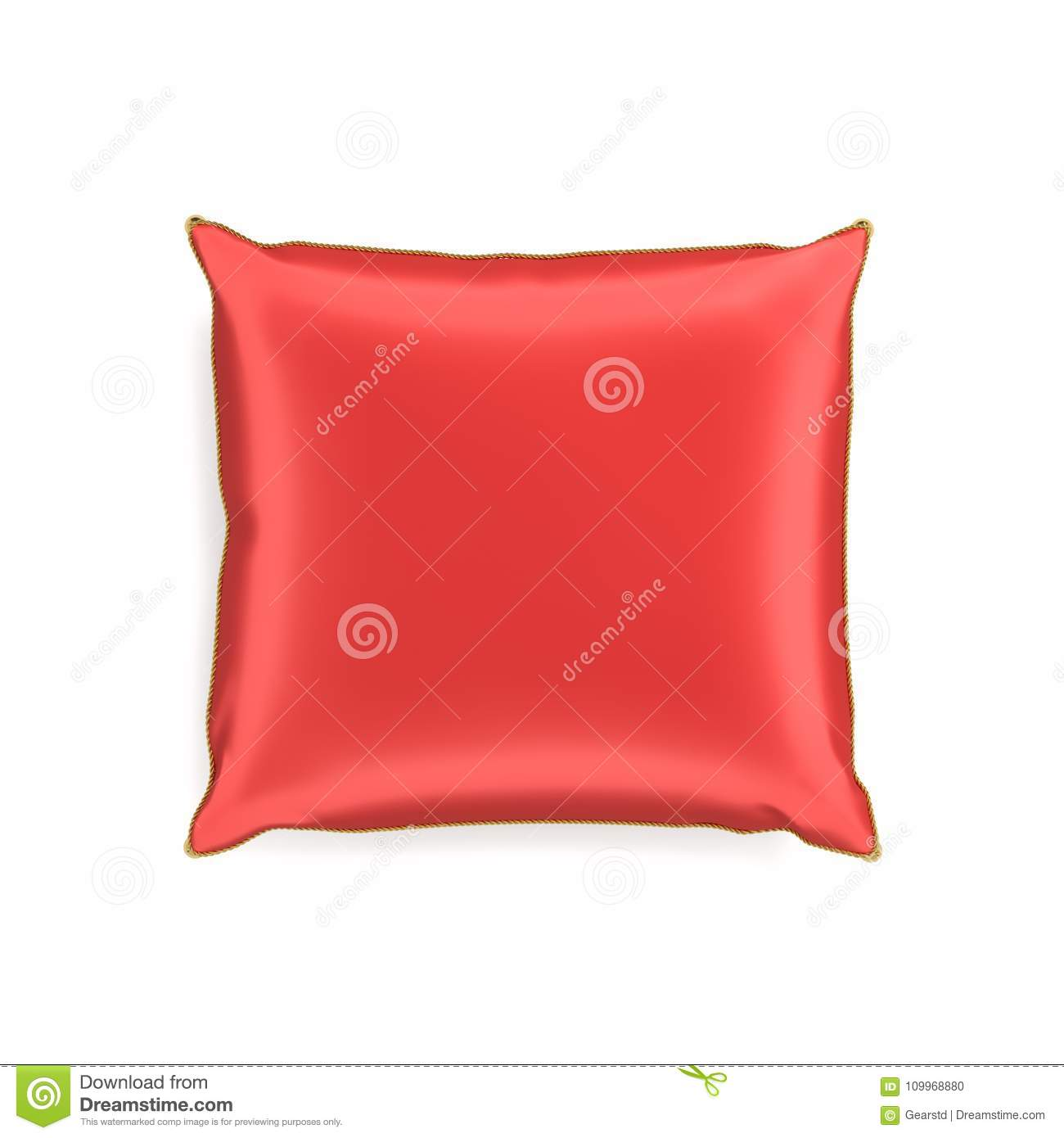 3d Rendering Of A Red Silk Decorative Pillow With Golden