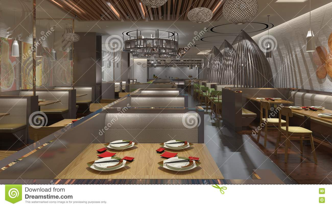 D rendering of a restaurant interior design stock