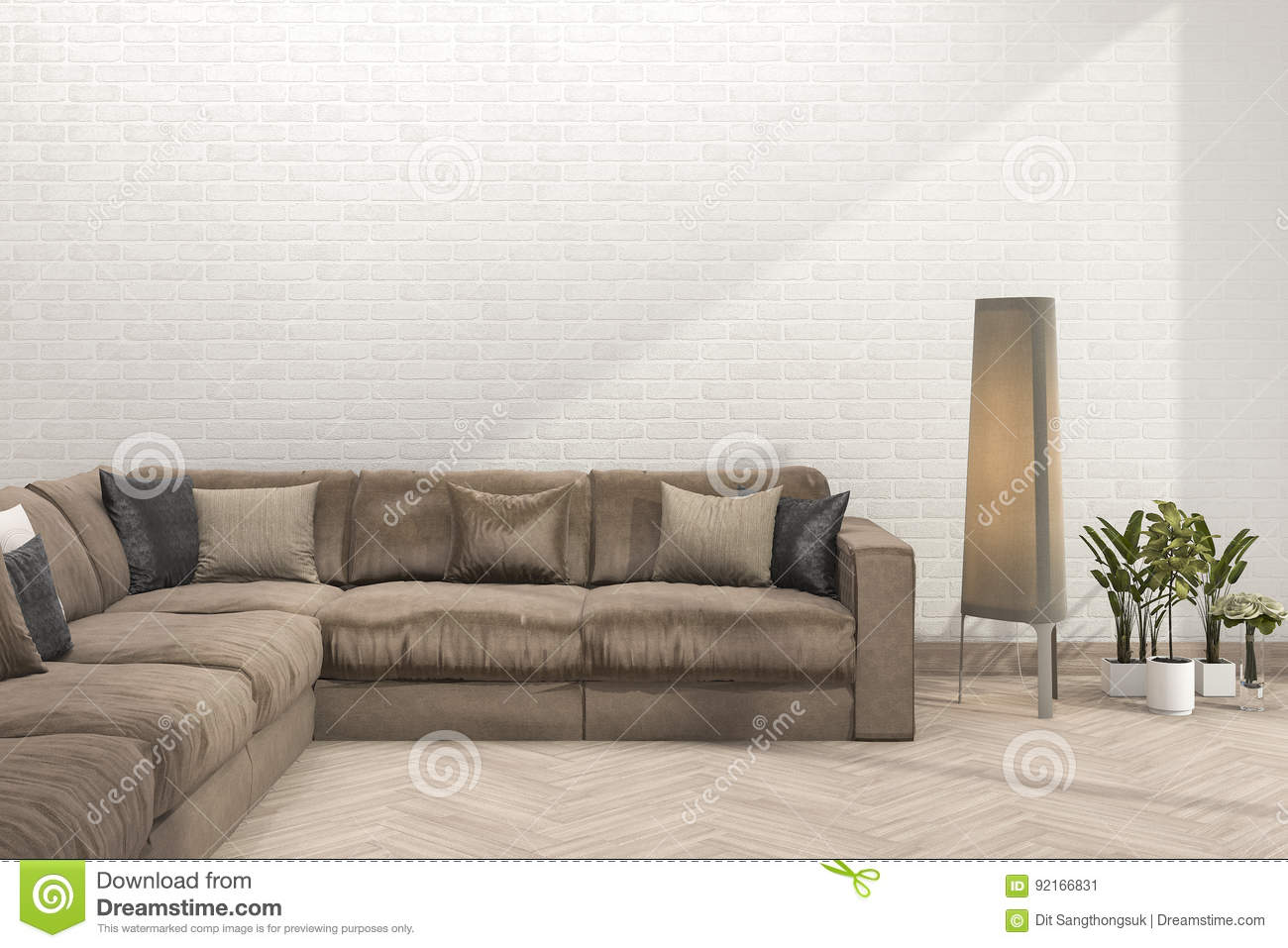 3d Rendering Retro Brown Sofa In Minimal Living Room With Brick Wall ...