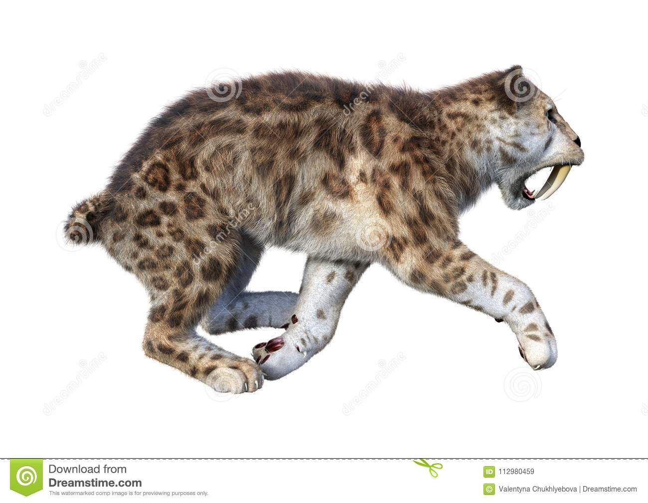 3D Rendering Sabertooth Tiger on White