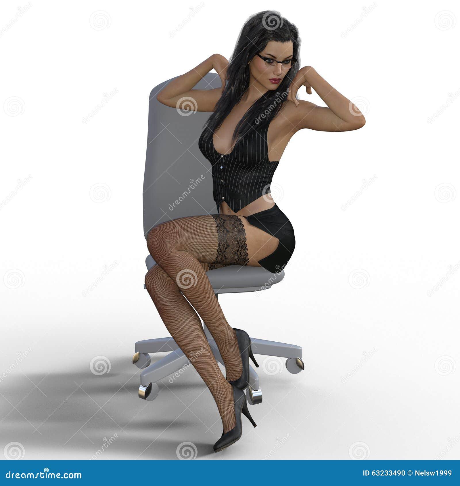 3d rendering of secretary on white background stock illustration