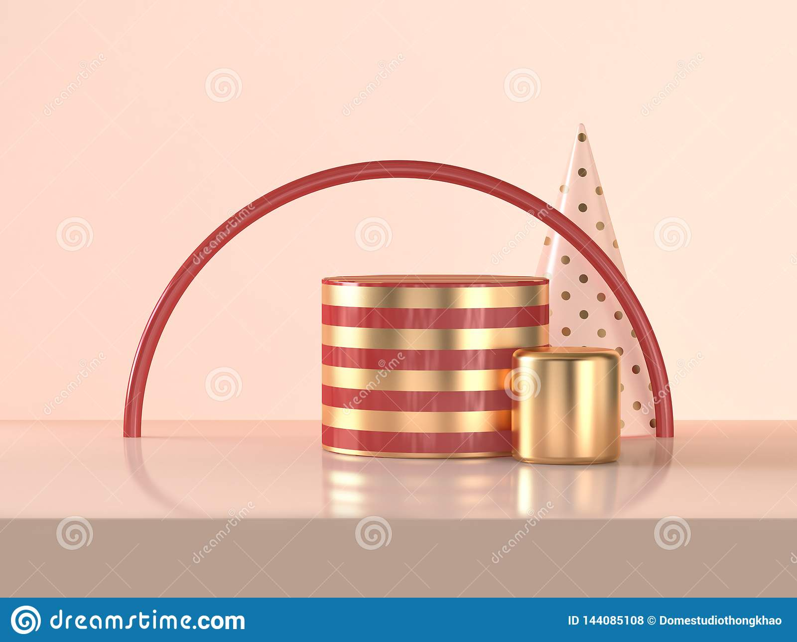 3d rendering Semicircle red gold cylinder abstract scene celebrations Christmas holiday concept