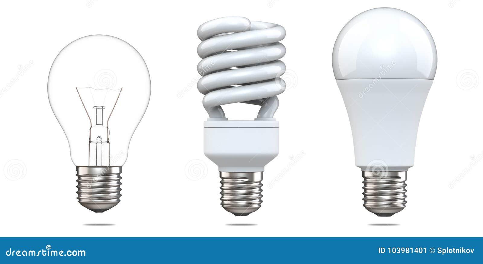 3d rendering set of tungsten bulb, fluorescent bulb and LED bulb. 3d illustration, evolution of energy saver lamps