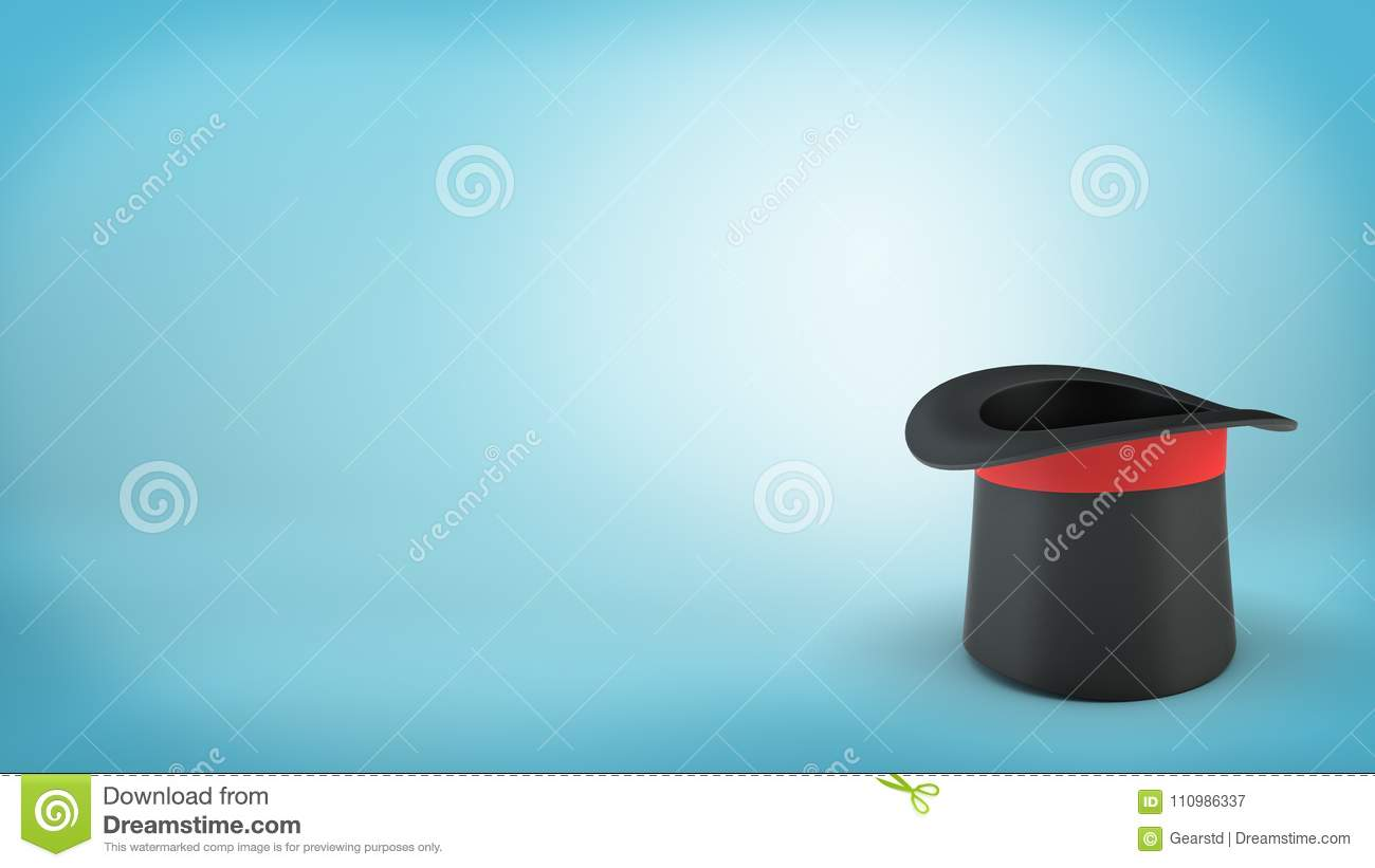 3d Rendering Of A Single Black Illusionist Hat With A Red Ribbon