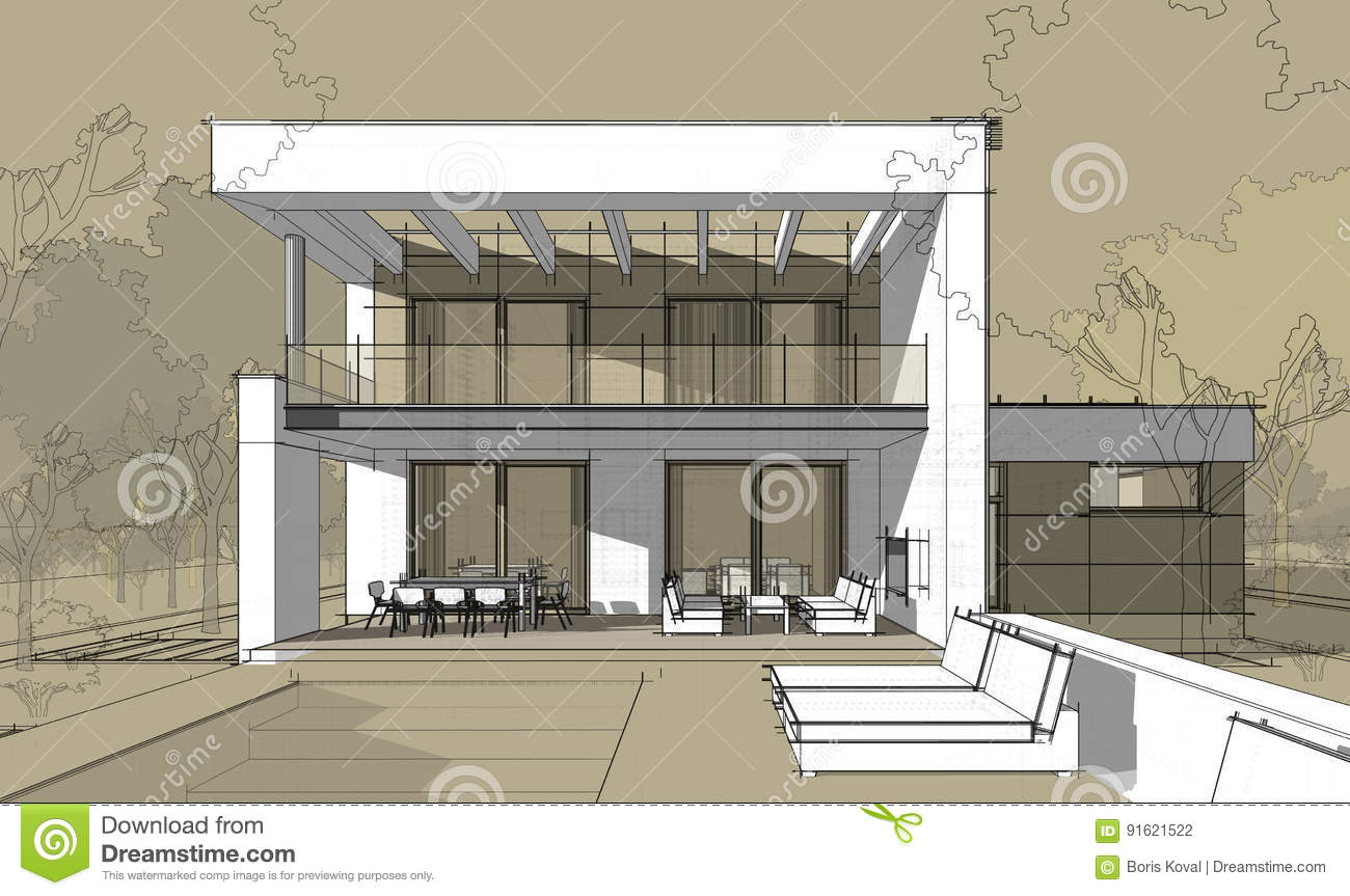 Download 3d Rendering Sketch Of Modern Cozy House Stock Illustration